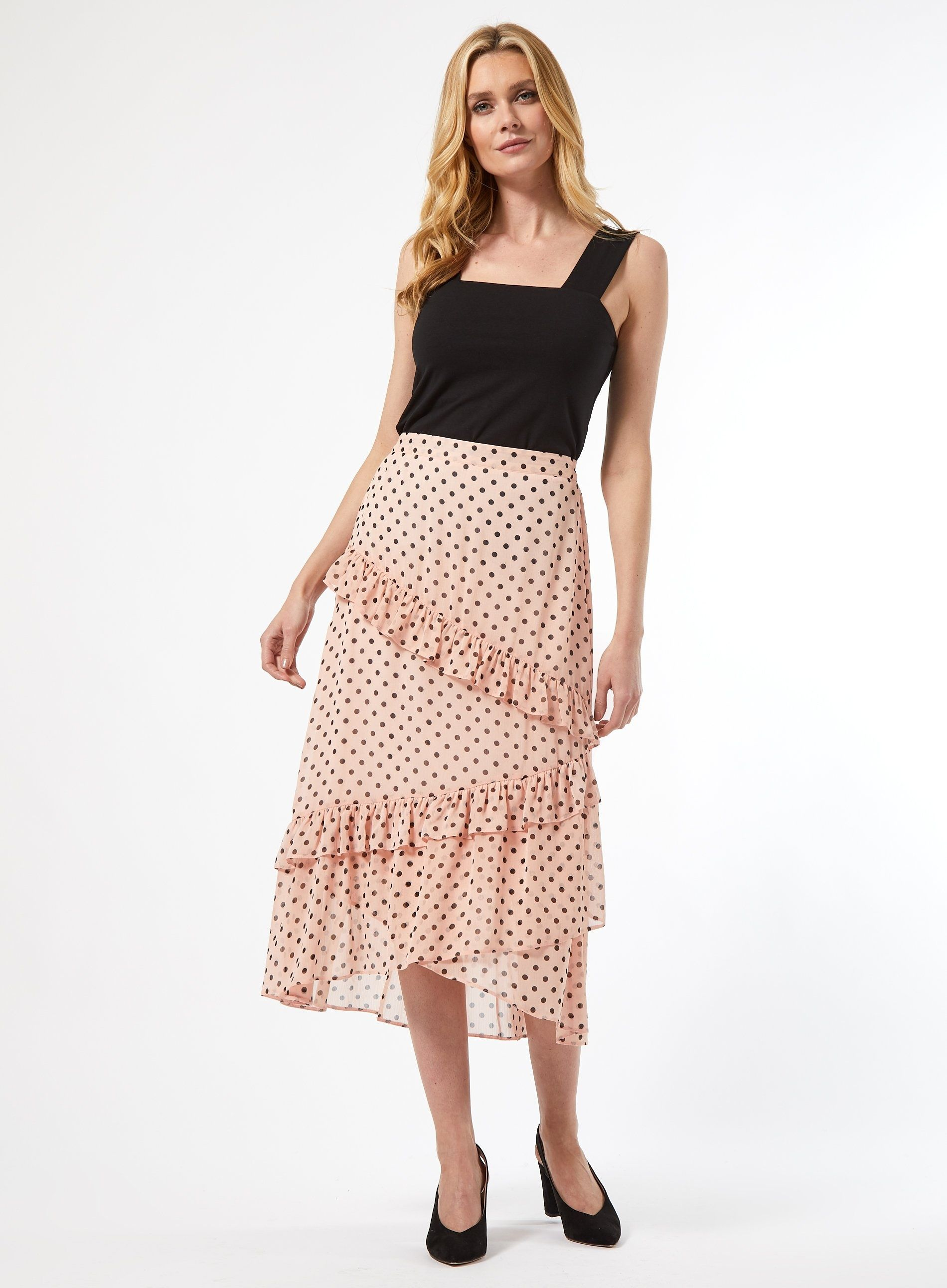 Dorothy Perkins Womens Pink Spot Print Midi A-Line Skirt Front Frill Detail