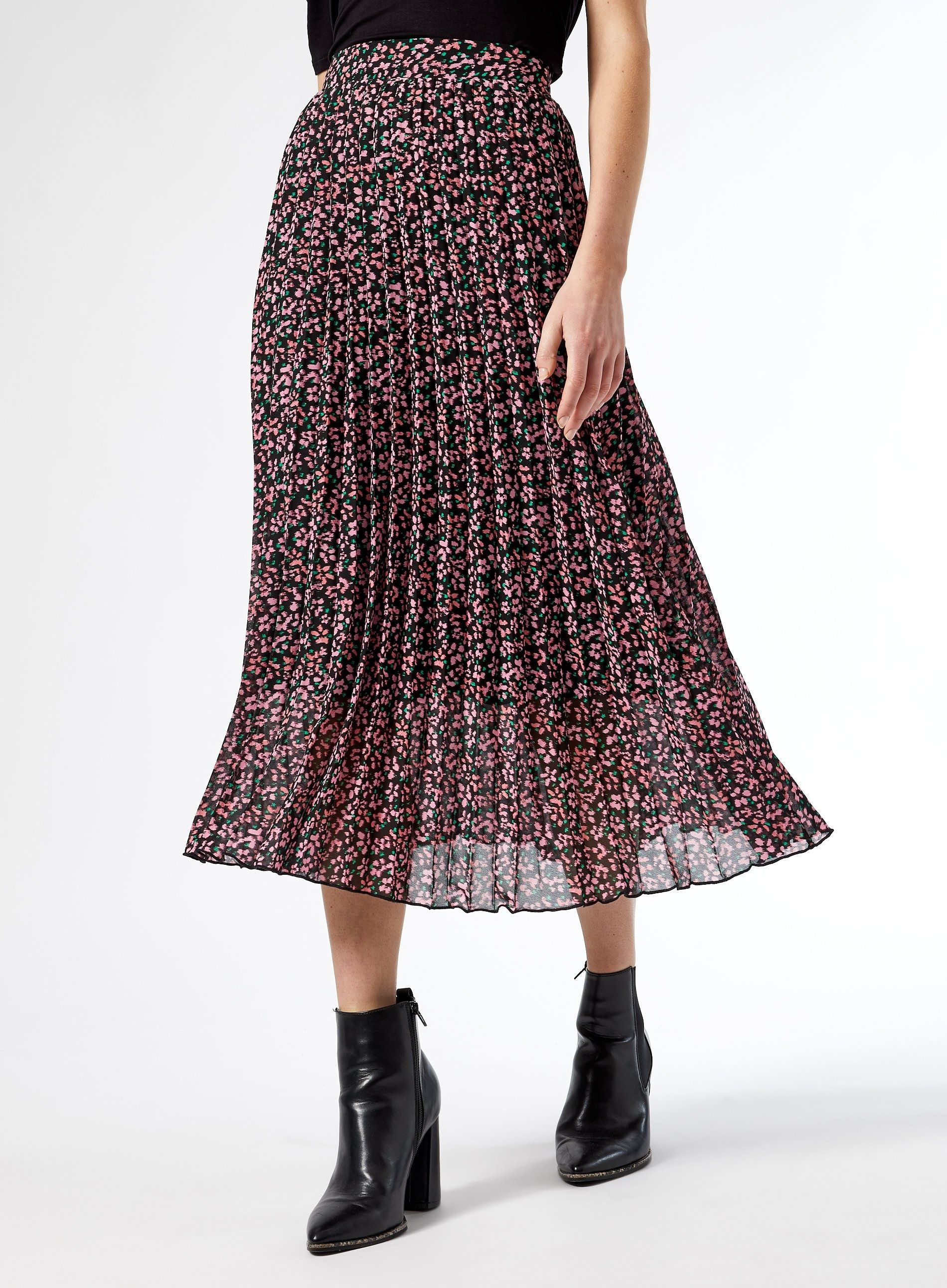 Dorothy Perkins Womens Multi Floral Print Pleated Midi Skirt Casual Bottoms