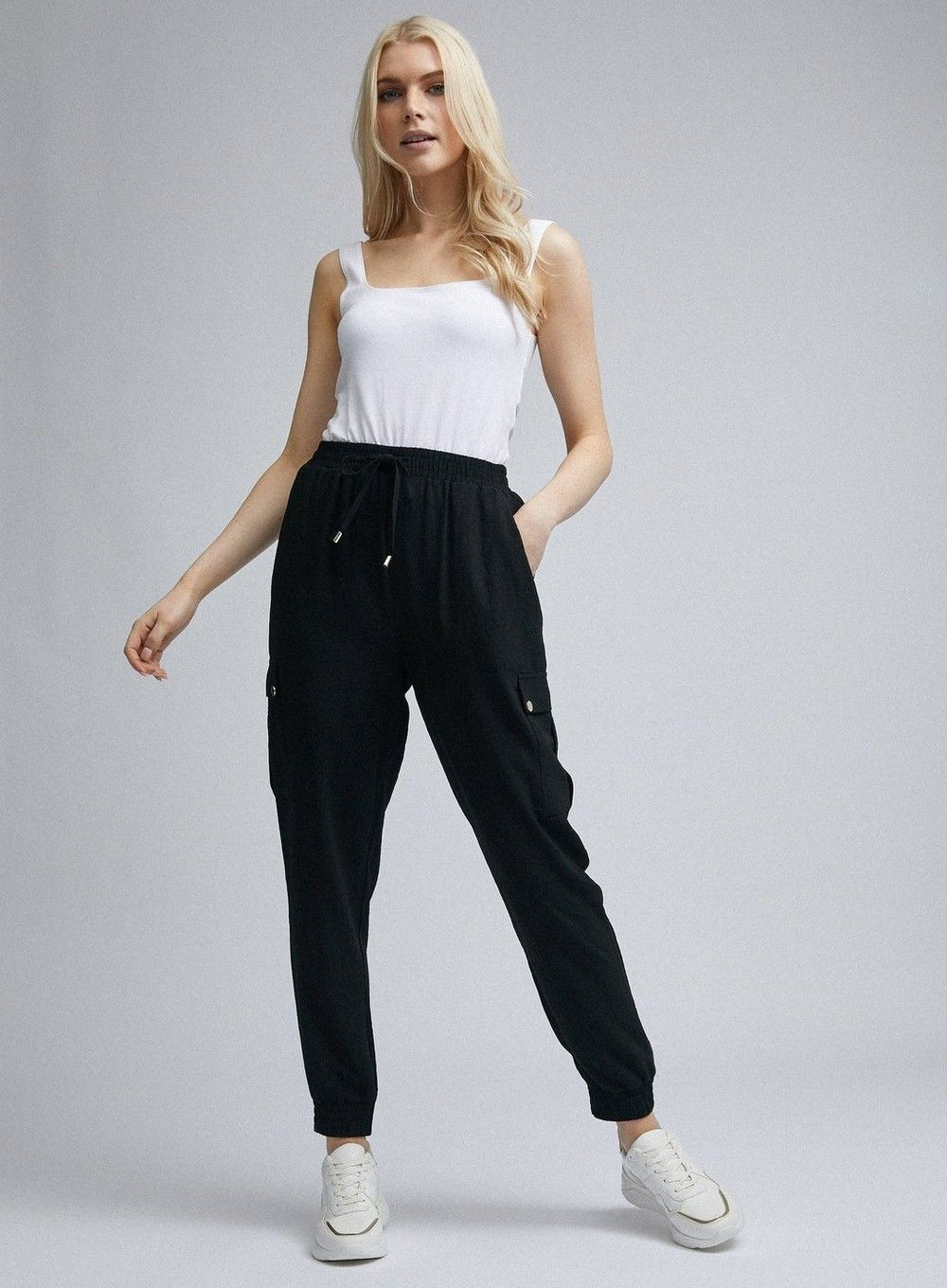 Dorothy Perkins Womens Black Cargo Joggers Trousers Casual