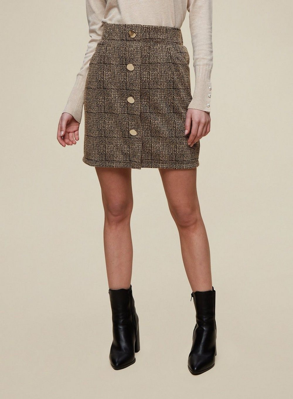 Dorothy Perkins Womens Multi Colour Checked Tweed Button Front Mini Skirt