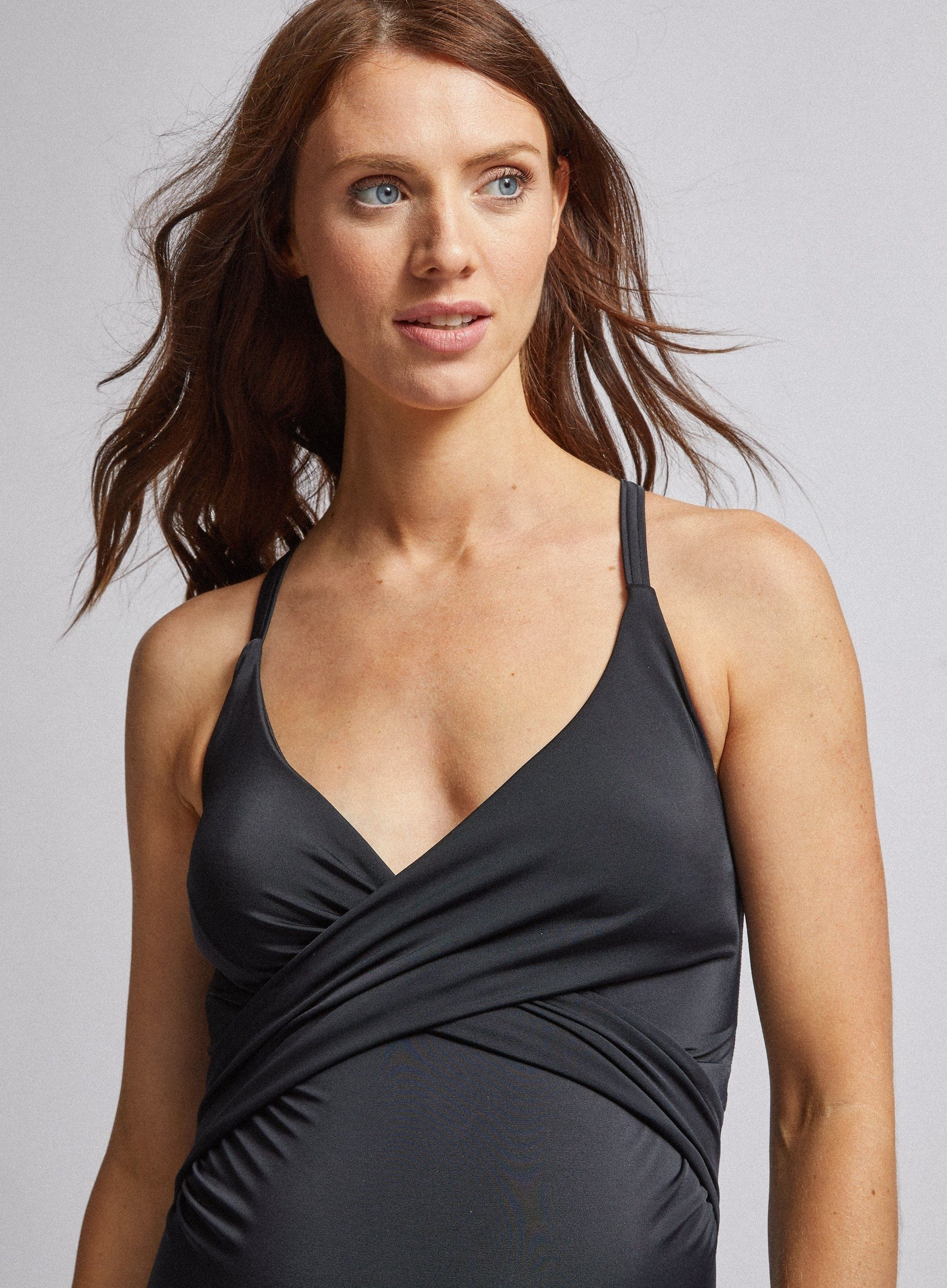 Dorothy Perkins Womens Maternity Black Swimsuit V-Neck One Piece Swimwear
