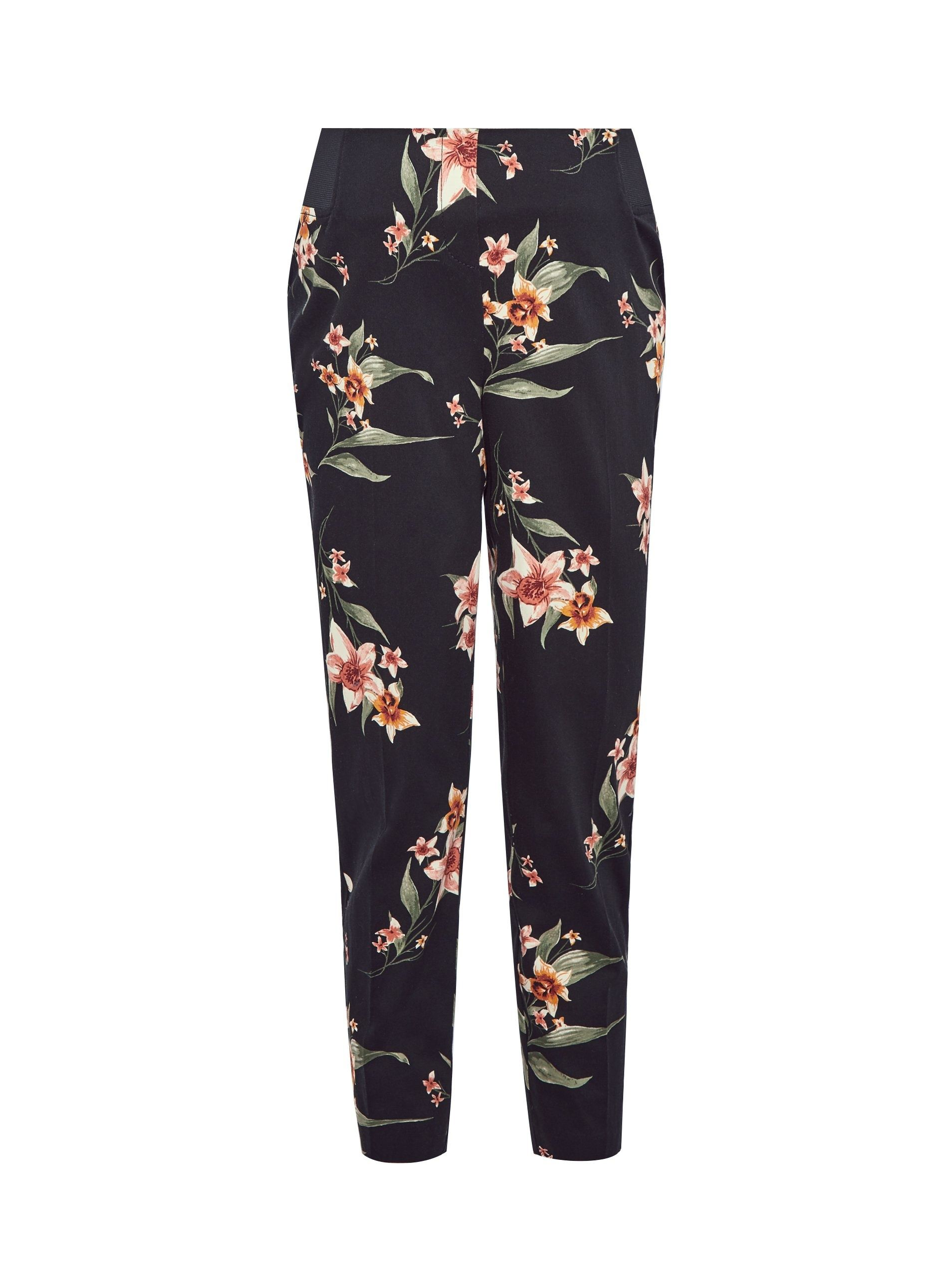 Dorothy Perkins Womens Maternity Black Ankle Grazer Trousers Pants Floral Print