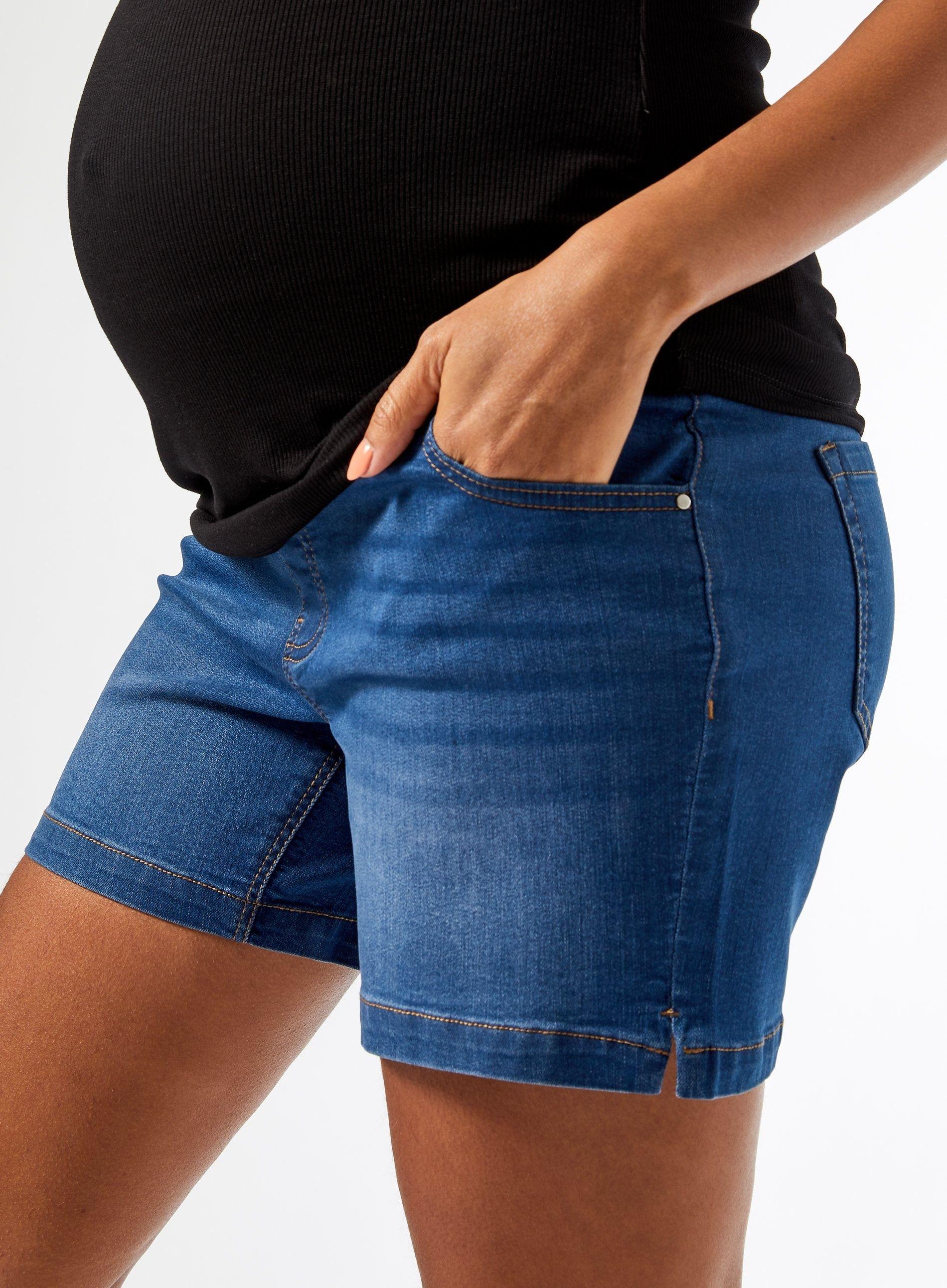 Dorothy Perkins Womens Maternity Mid Wash Denim Shorts Under Bump Bottoms