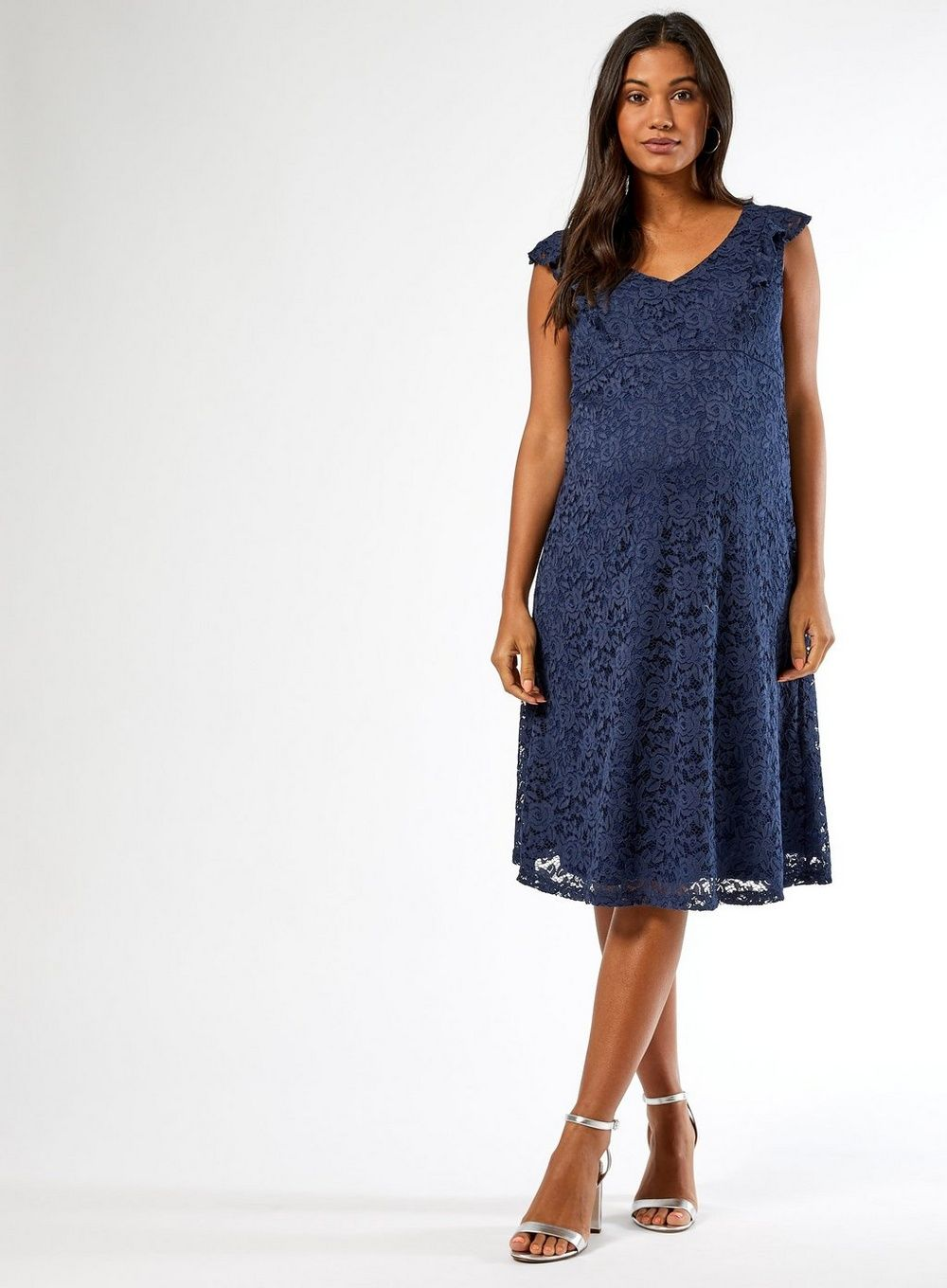 Dorothy Perkins Womens Maternity Blue Lace Fit and Flare Dress Sleeveless