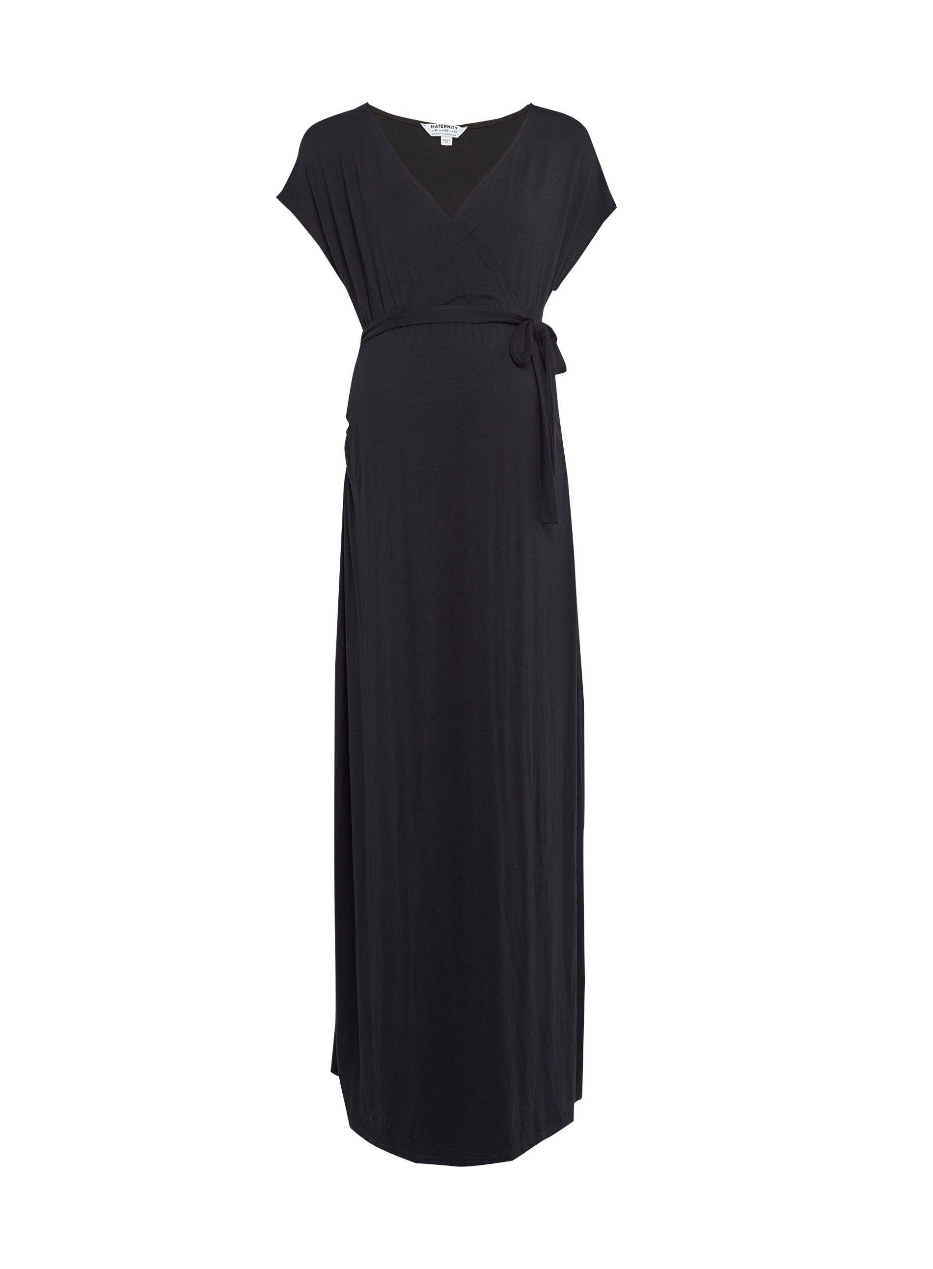 Dorothy Perkins Womens Maternity Black Wrap Maxi Dress V-Neck Short Sleeve