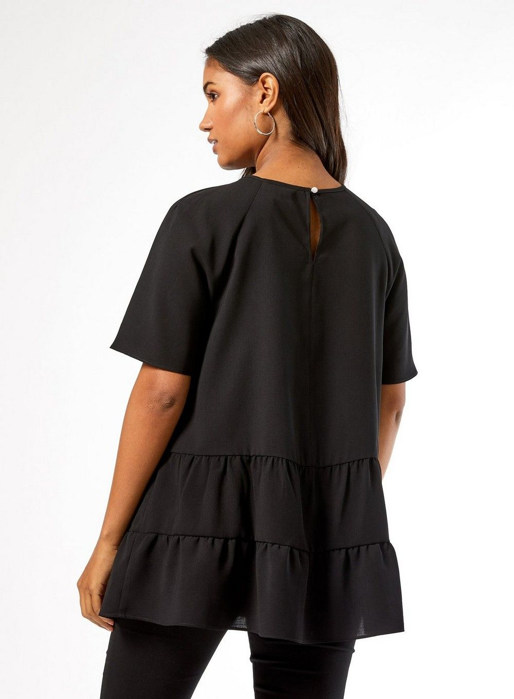 Dorothy Perkins Womens Maternity Black Tiered Frill Top Blouse Short Sleeve