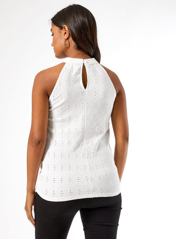 Dorothy Perkins Womens Maternity Ivory Halter Neck Top Sleeveless Shirt Blouse