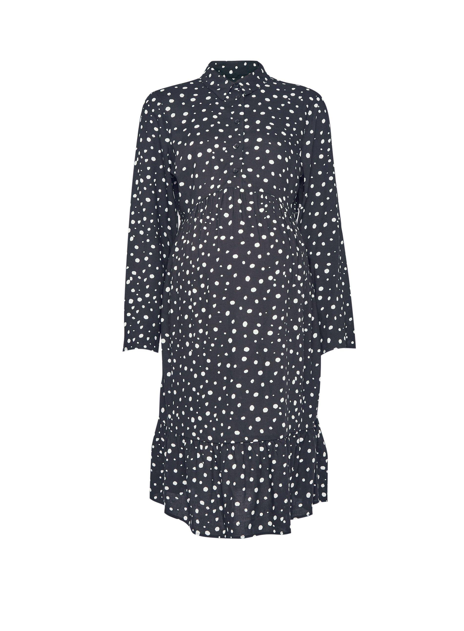 Dorothy Perkins Womens Maternity Black Spot Printed Dress Knee-Long Long Sleeve