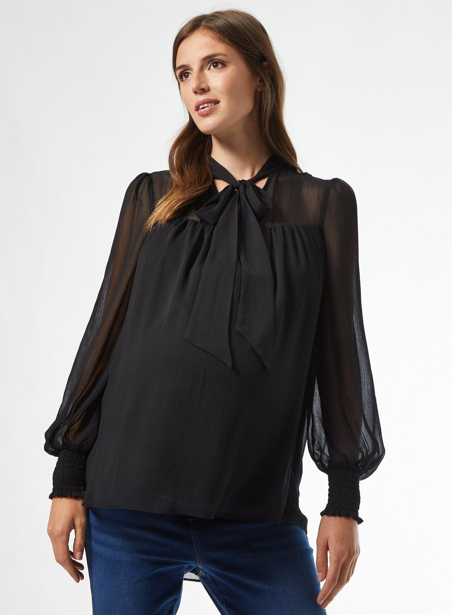 Dorothy Perkins Womens Maternity Black Long Sleeve Tie Top Shirt Blouse