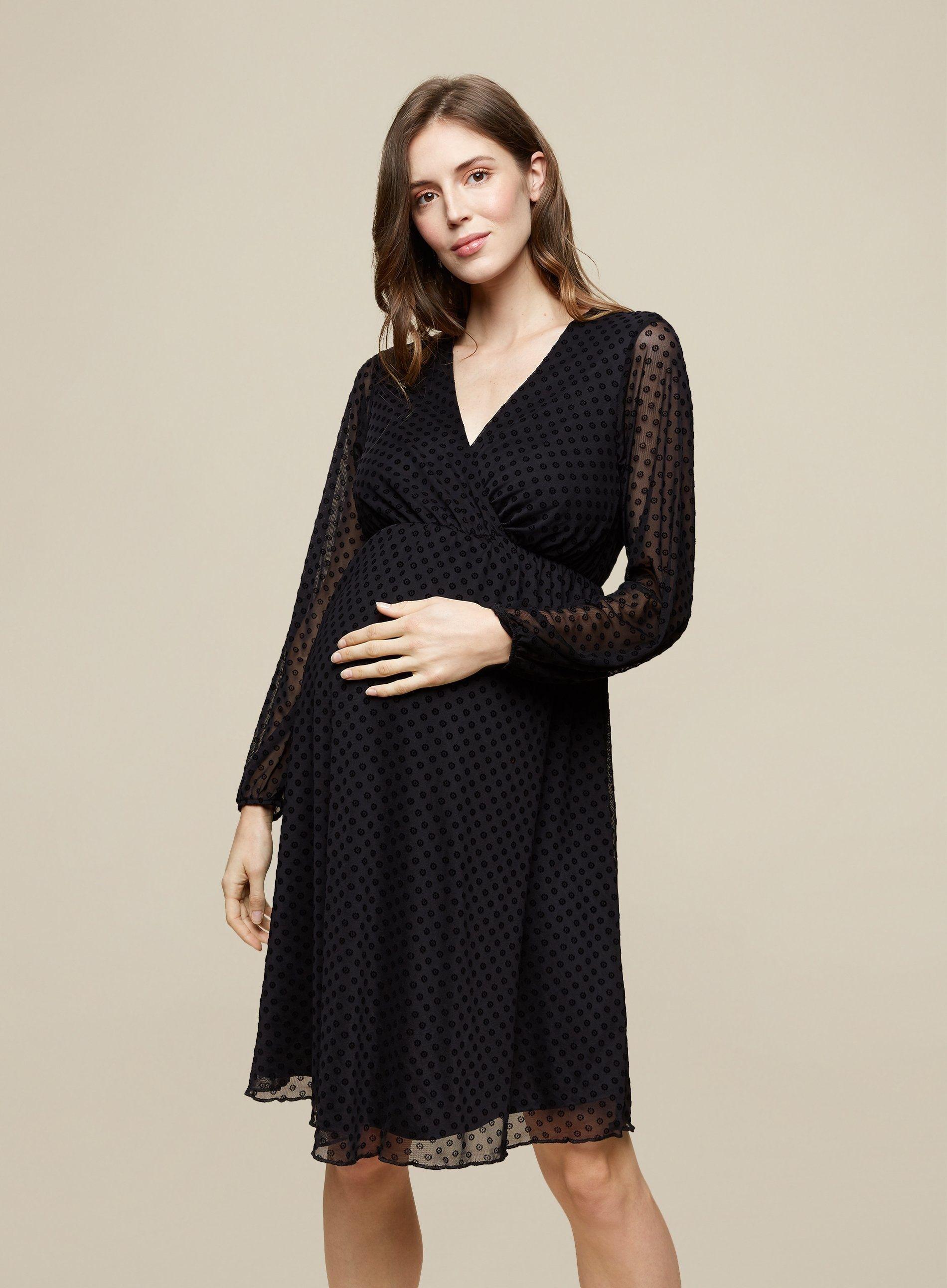 Dorothy Perkins Womens Maternity Black Mesh Wrap Dobby Dress Long Sleeve