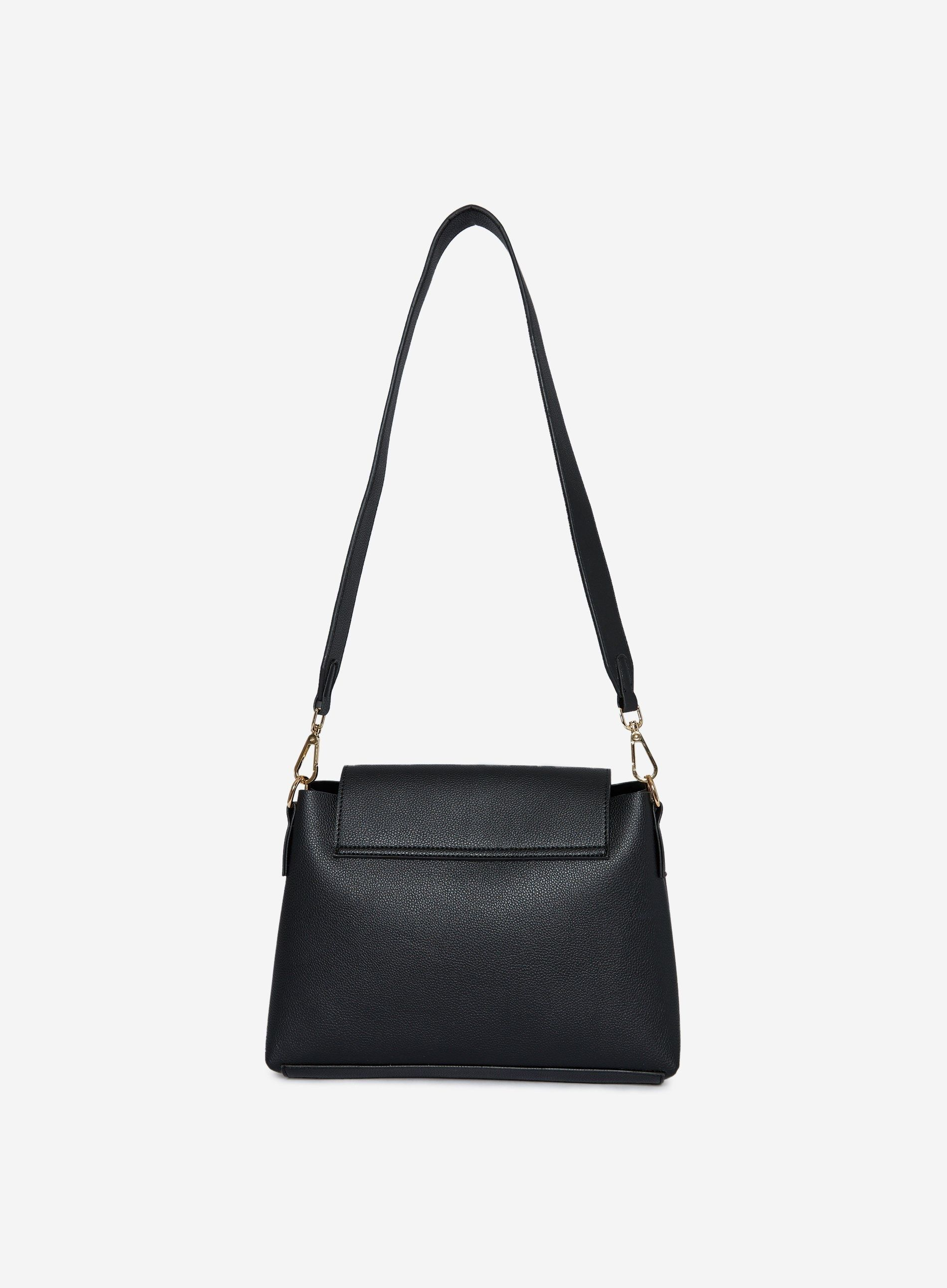 Dorothy Perkins Womens Black Soft Pushlock Cross Body Bag Shoulder Handbag