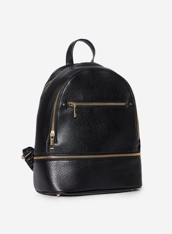 Dorothy Perkins Womens Black Double Zip Backpack Bag Travel Handbag Rucksack