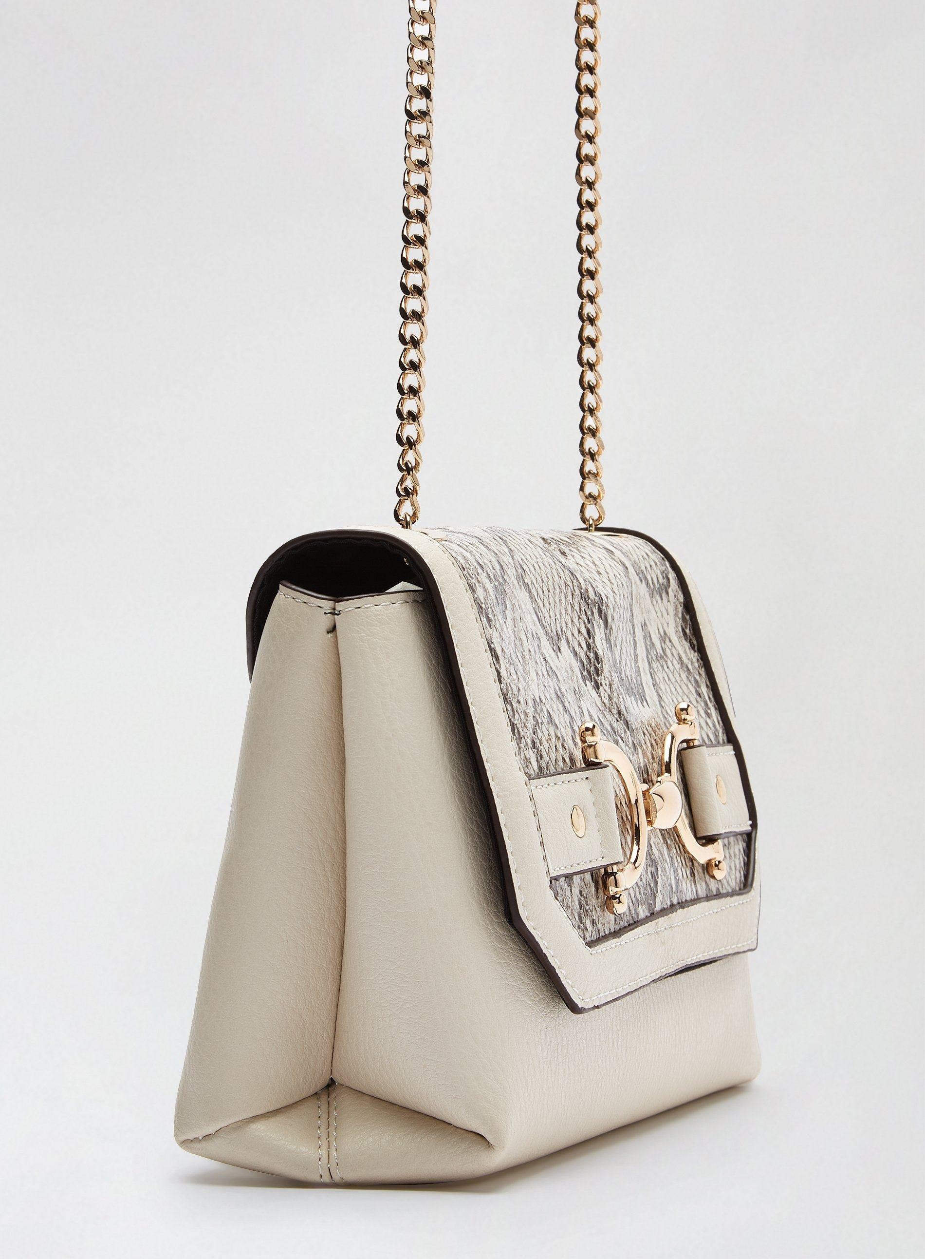 Dorothy Perkins Womens Cream Snake Print Snaffle Hardware Cross Body Bag Handbag