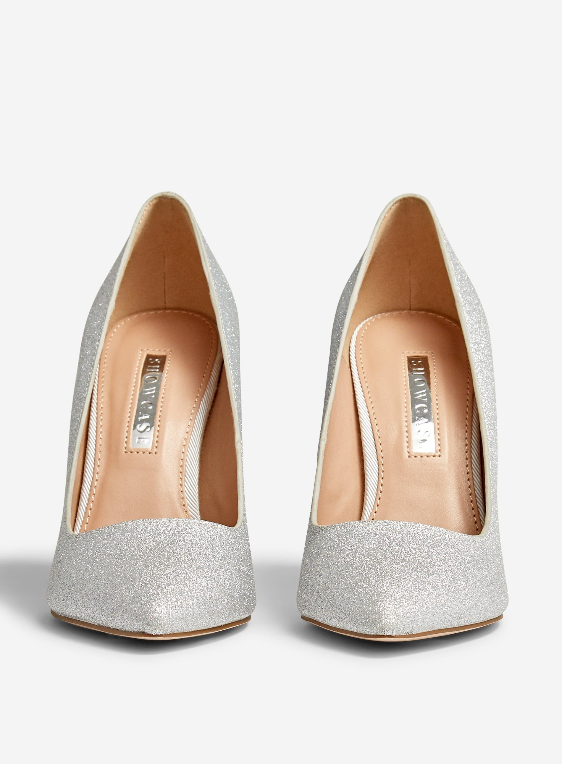 Dorothy Perkins Womens Showcase Silver Berty Glitter Court Shoes Heels Pumps