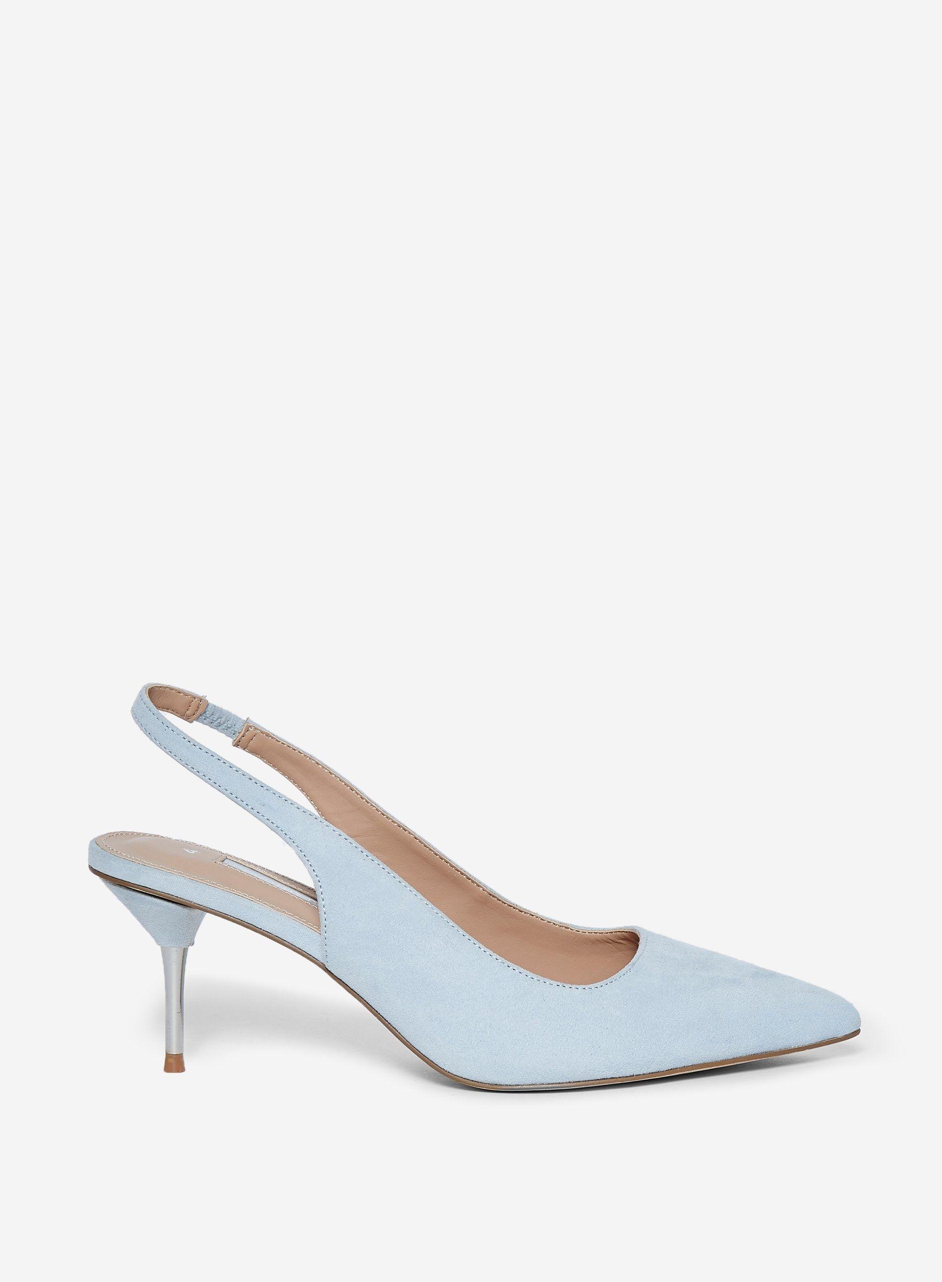 Dorothy Perkins Womens Blue Ellie Court Shoes Slingback Kitten Heel Pointed Toe