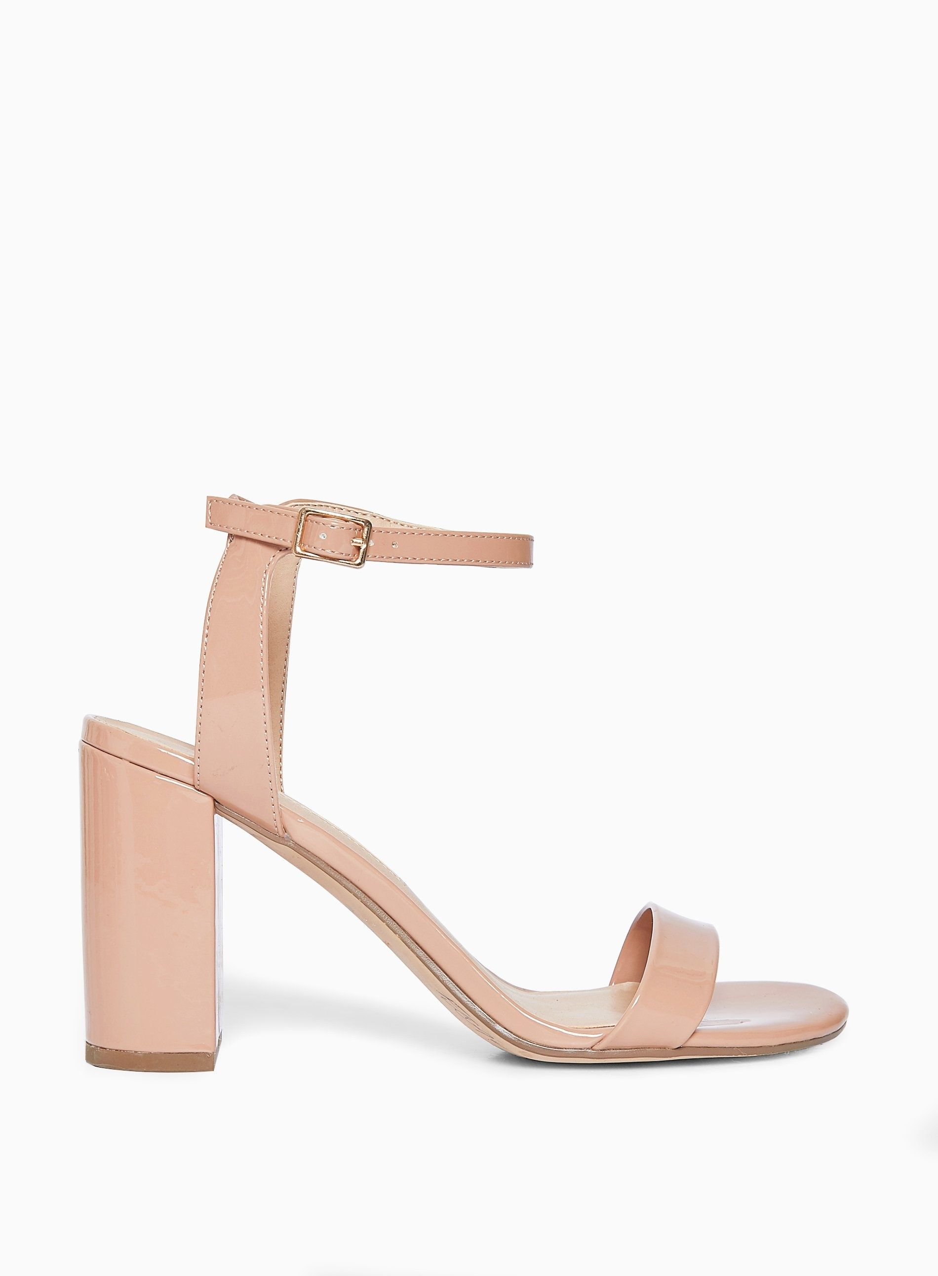 Dorothy Perkins Womens Beige Shimmer Heeled Sandals Strappy Open Toe Shoes