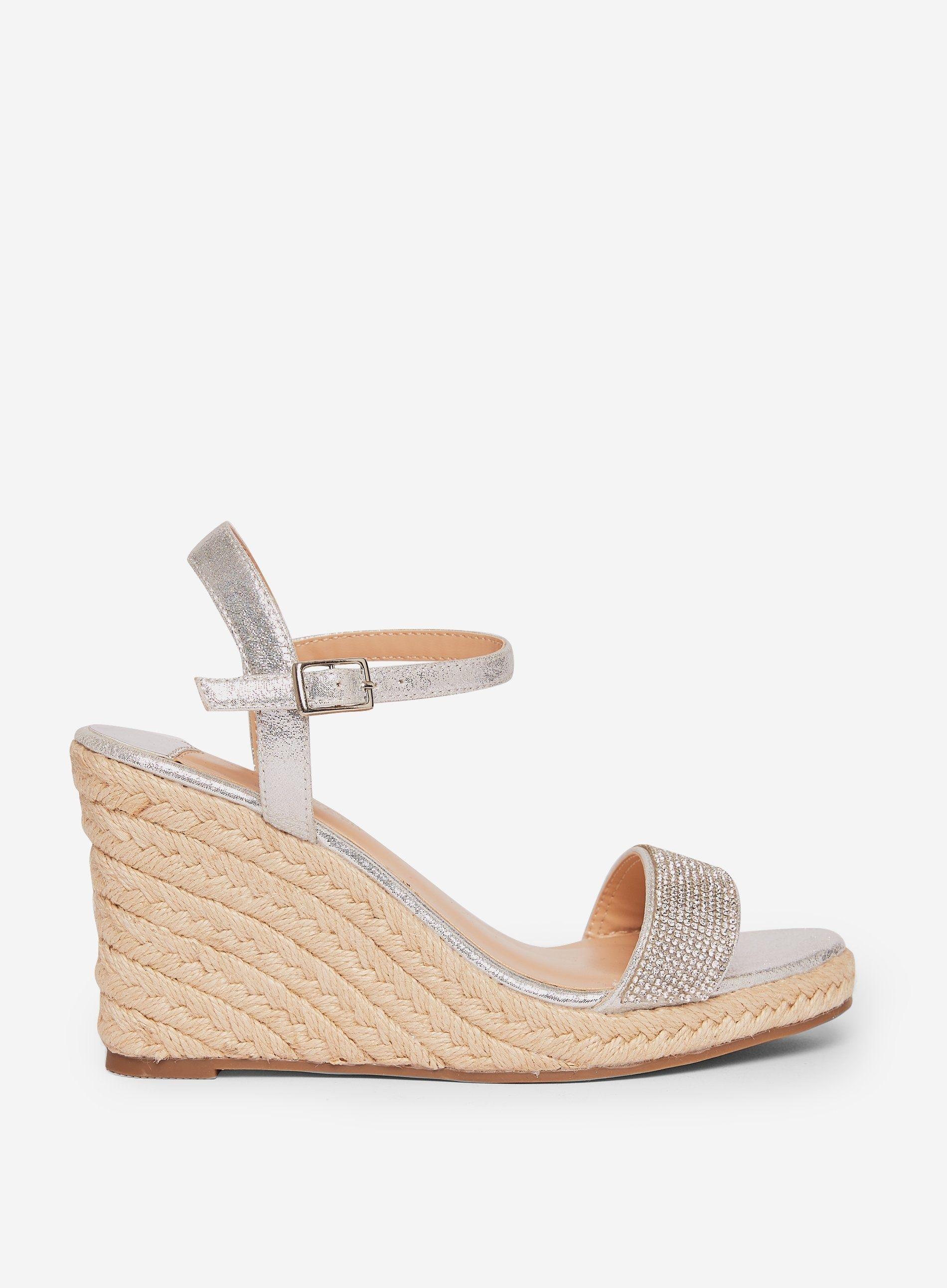 Dorothy Perkins Womens Grey Raa Raa Wedge Sandals Open Toe Heels Buckle Shoes