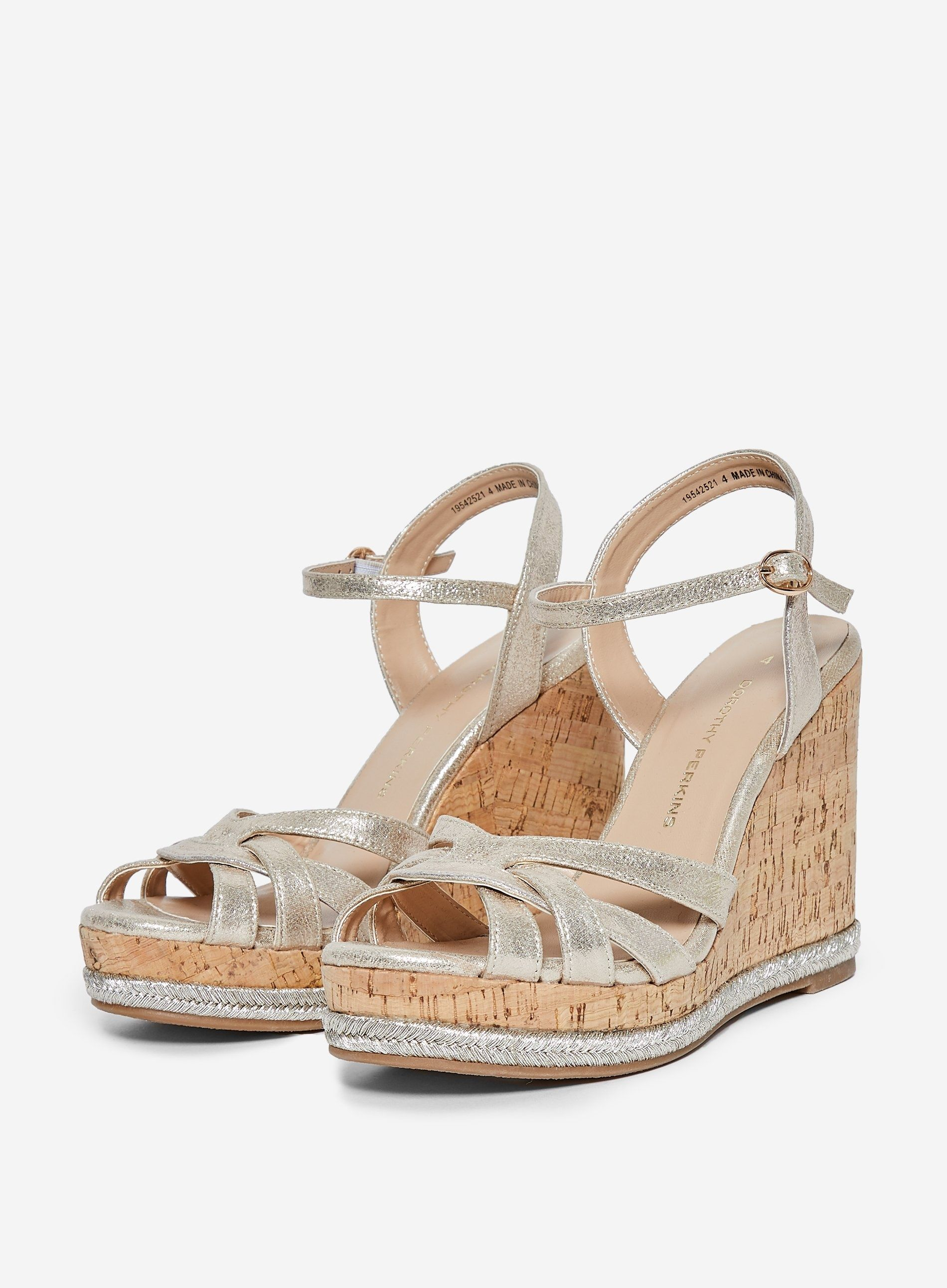 Dorothy Perkins Womens Silver Rhoda Wedge Platform Sandals Heels Open Toe