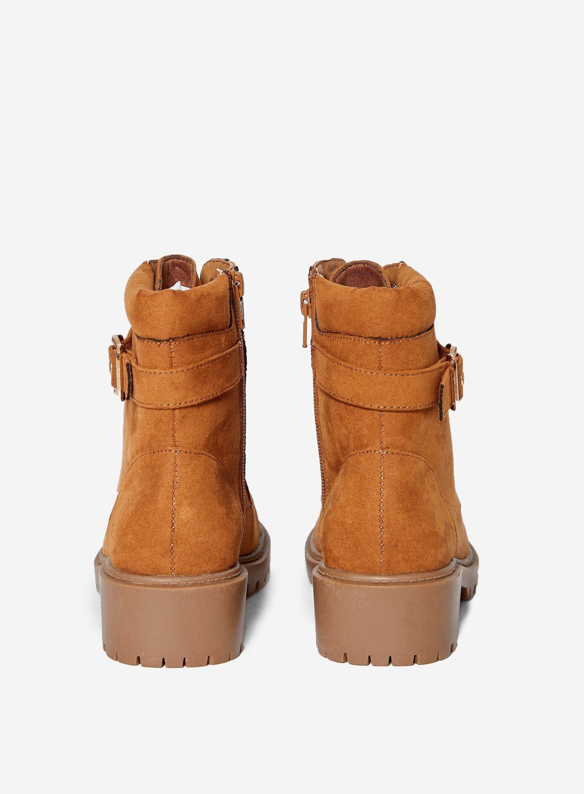 Dorothy Perkins Womens Tan Mona Biker Ankle Boots Lace Up Casual