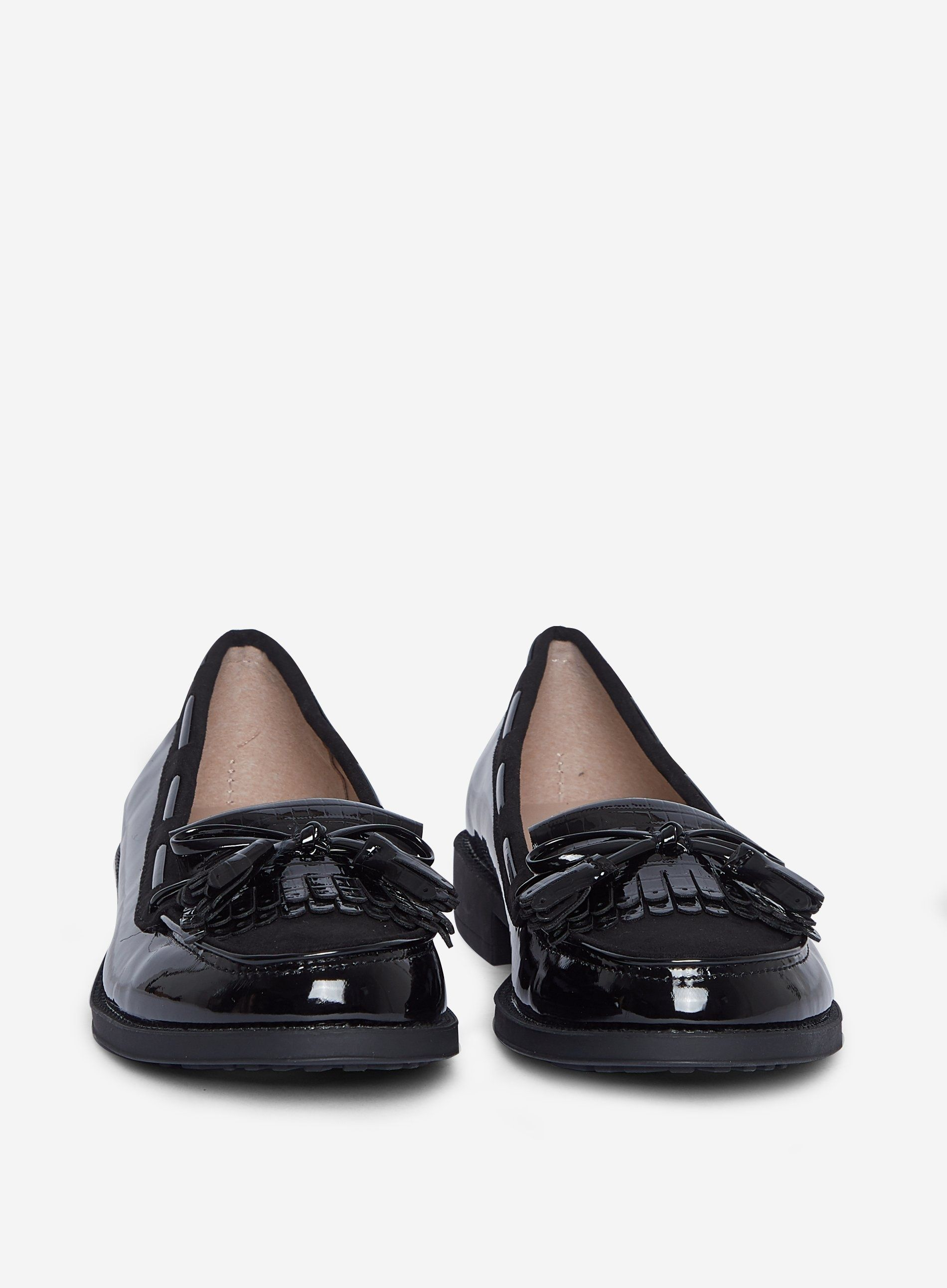 Dorothy Perkins Womens Black Patent Lexy Loafers Flats Slip On Shoes