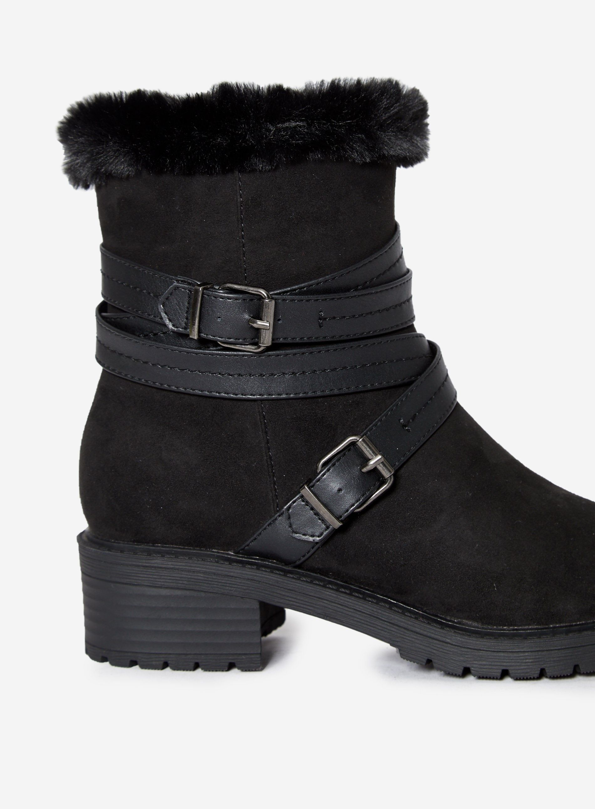 Dorothy Perkins Womens Black Maeva Cleat Block Heel Ankle Boots