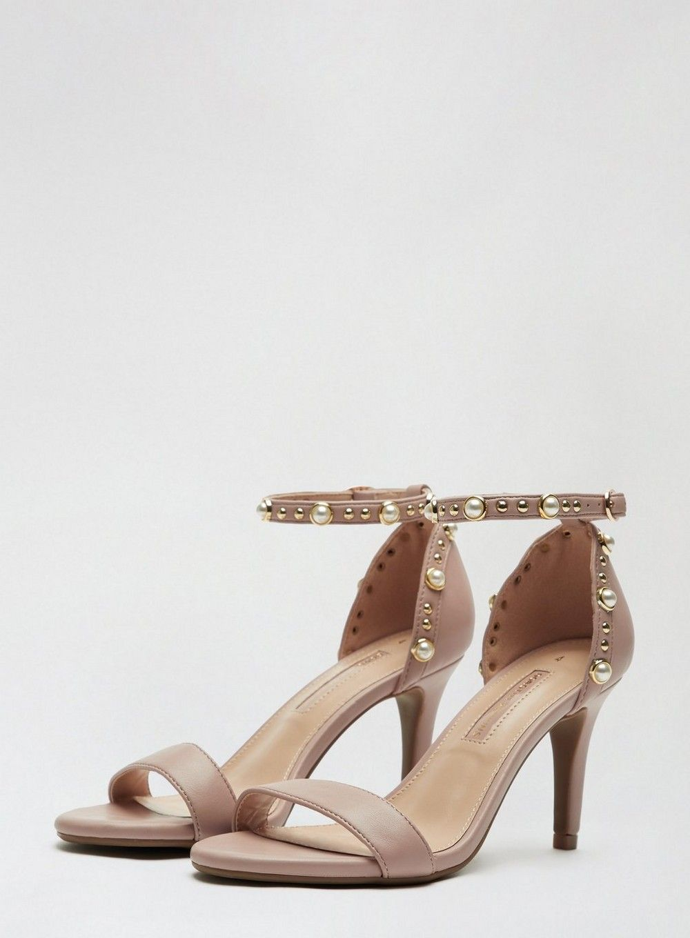 Dorothy Perkins Womens Beige Simba Pearl Heeled Ankle Sandals Stiletto Shoes
