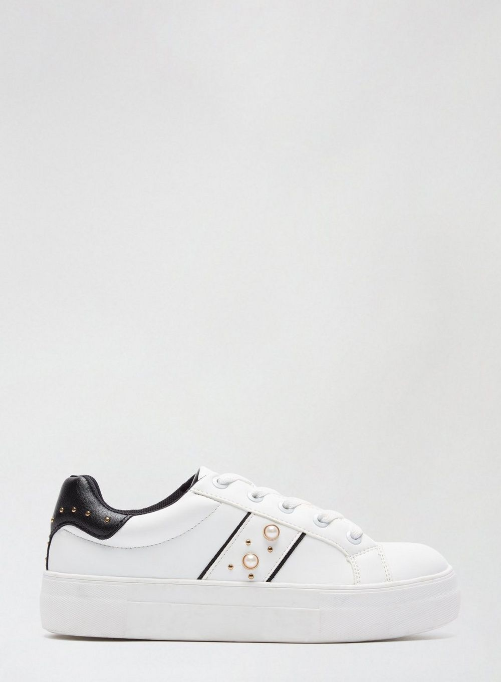 Dorothy Perkins Womens White Itsy Pearl Trainers Sports Flats Sneakers Shoes