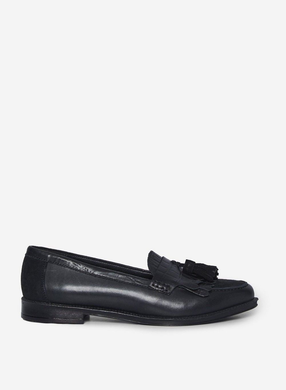 Dorothy Perkins Womens Black Luster Leather Loafers Flats Comfort Work Shoes