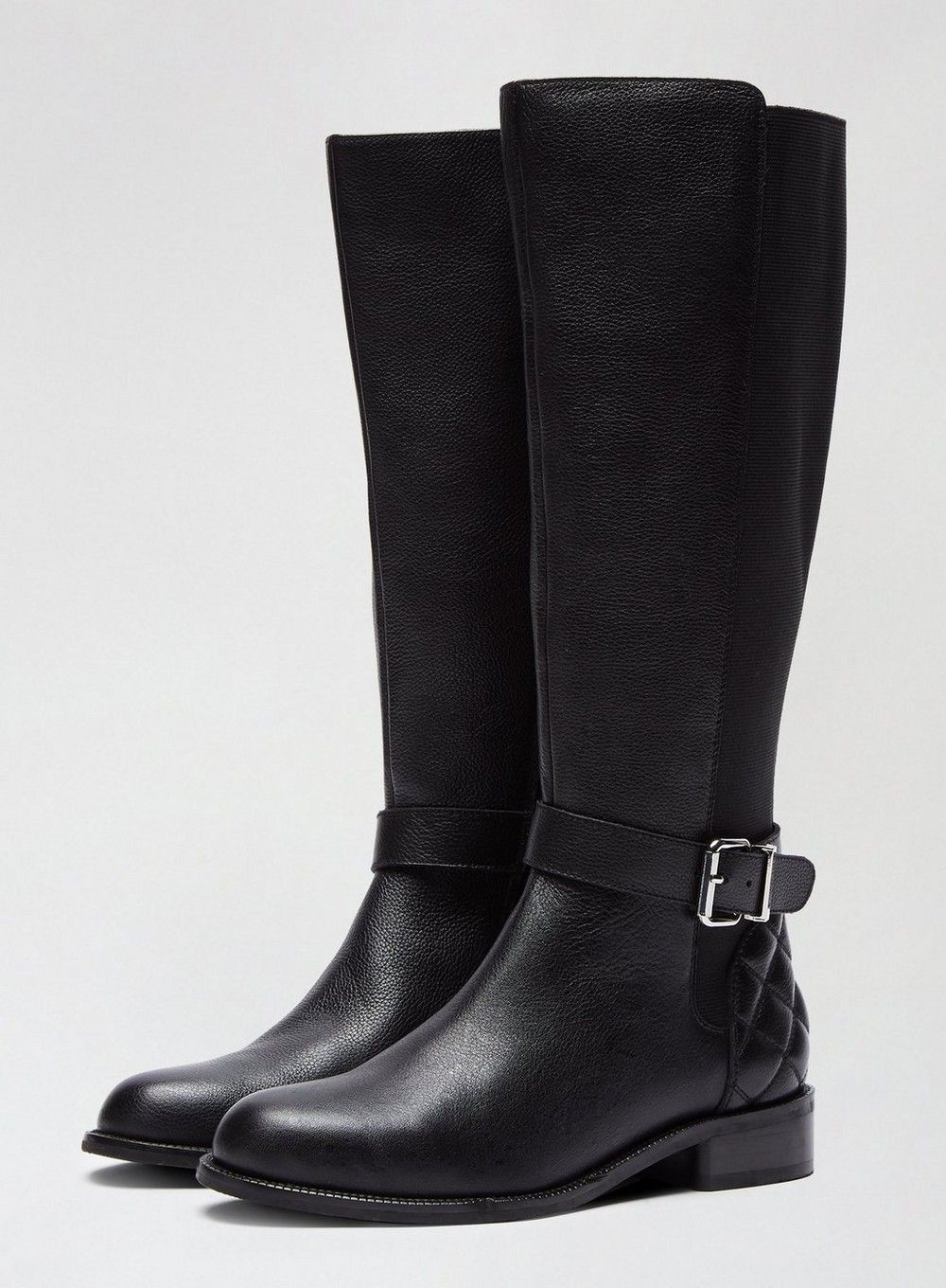Dorothy Perkins Womens Black Opera Leather Boots Flats Winter Shoes Comfort