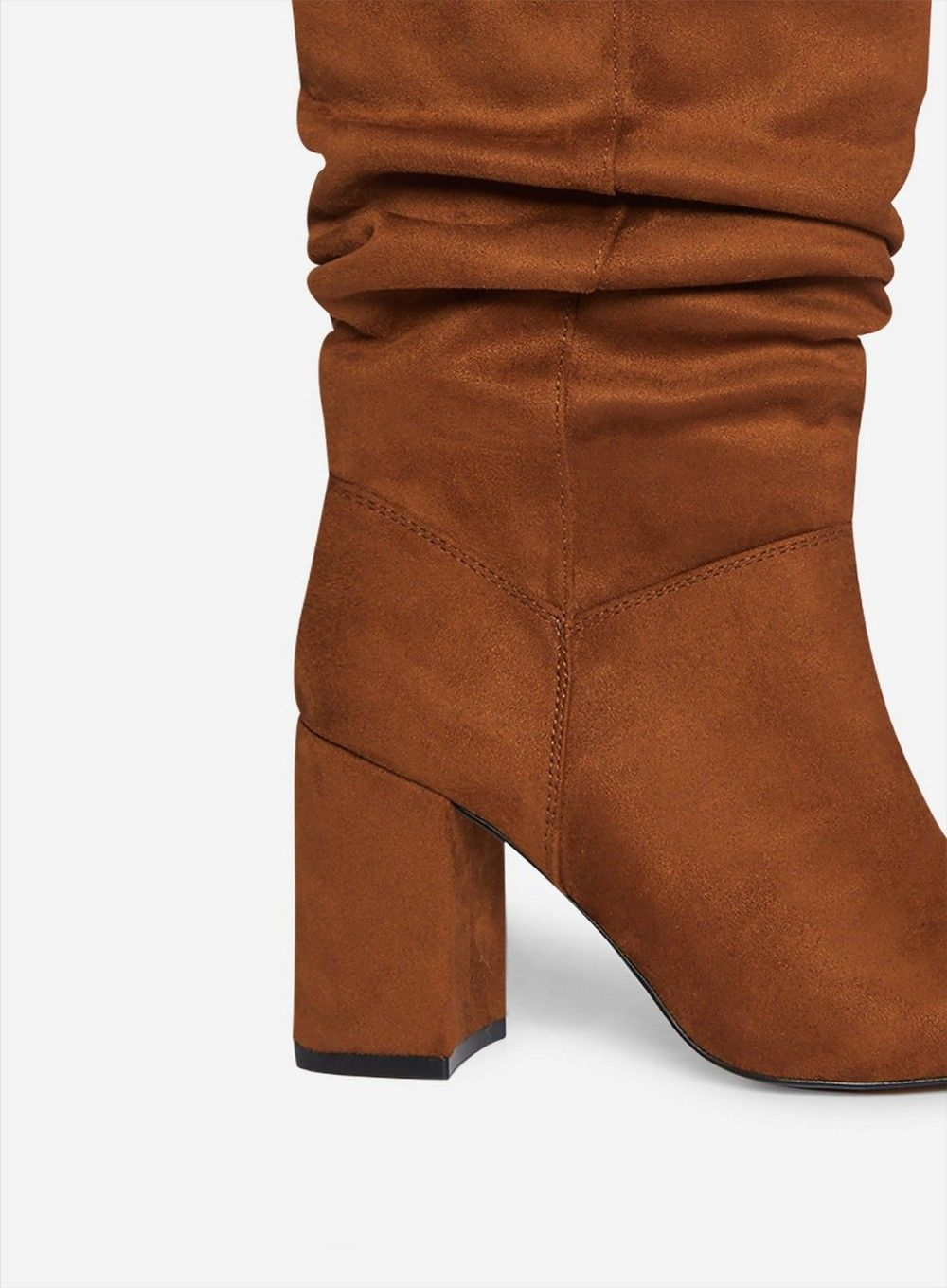 Dorothy Perkins Womens Brown Kinder Ruched Boots Winter Heeled Shoes Mid-Calf