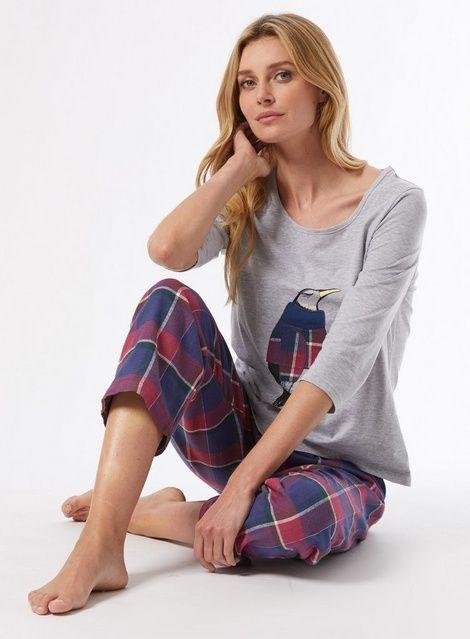Dorothy Perkins Womens Navy Penguin and Check Print Pyjama Set Casual Nightwear