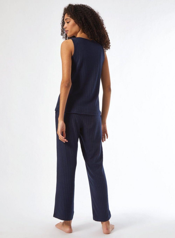 Dorothy Perkins Womens Navy Velvet Twosie Nightwear Sleepwear Loungewear