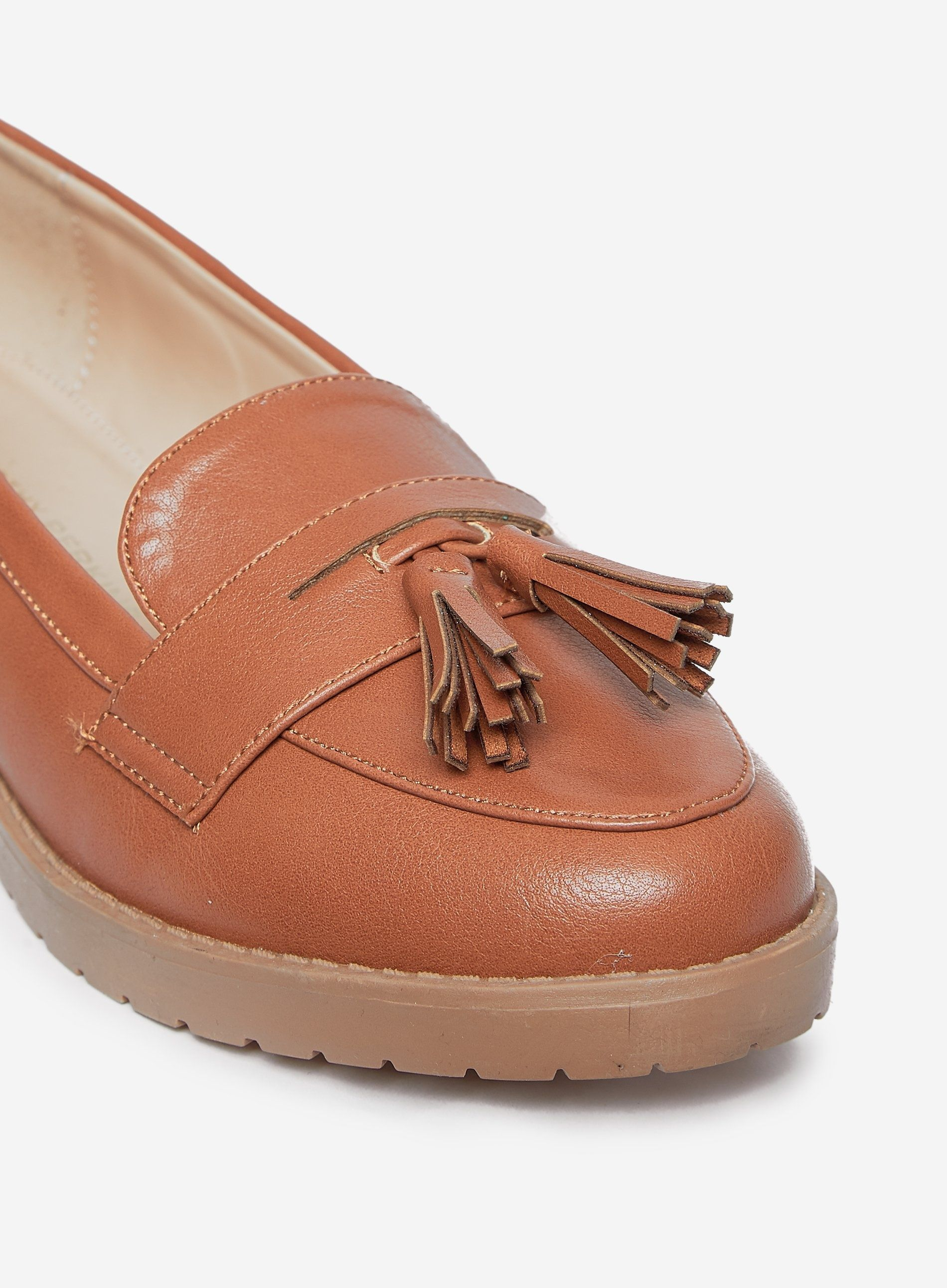 Dorothy Perkins Womens Wide Fit Brown Litty Loafers Slip On Flat Round Toe Shoes