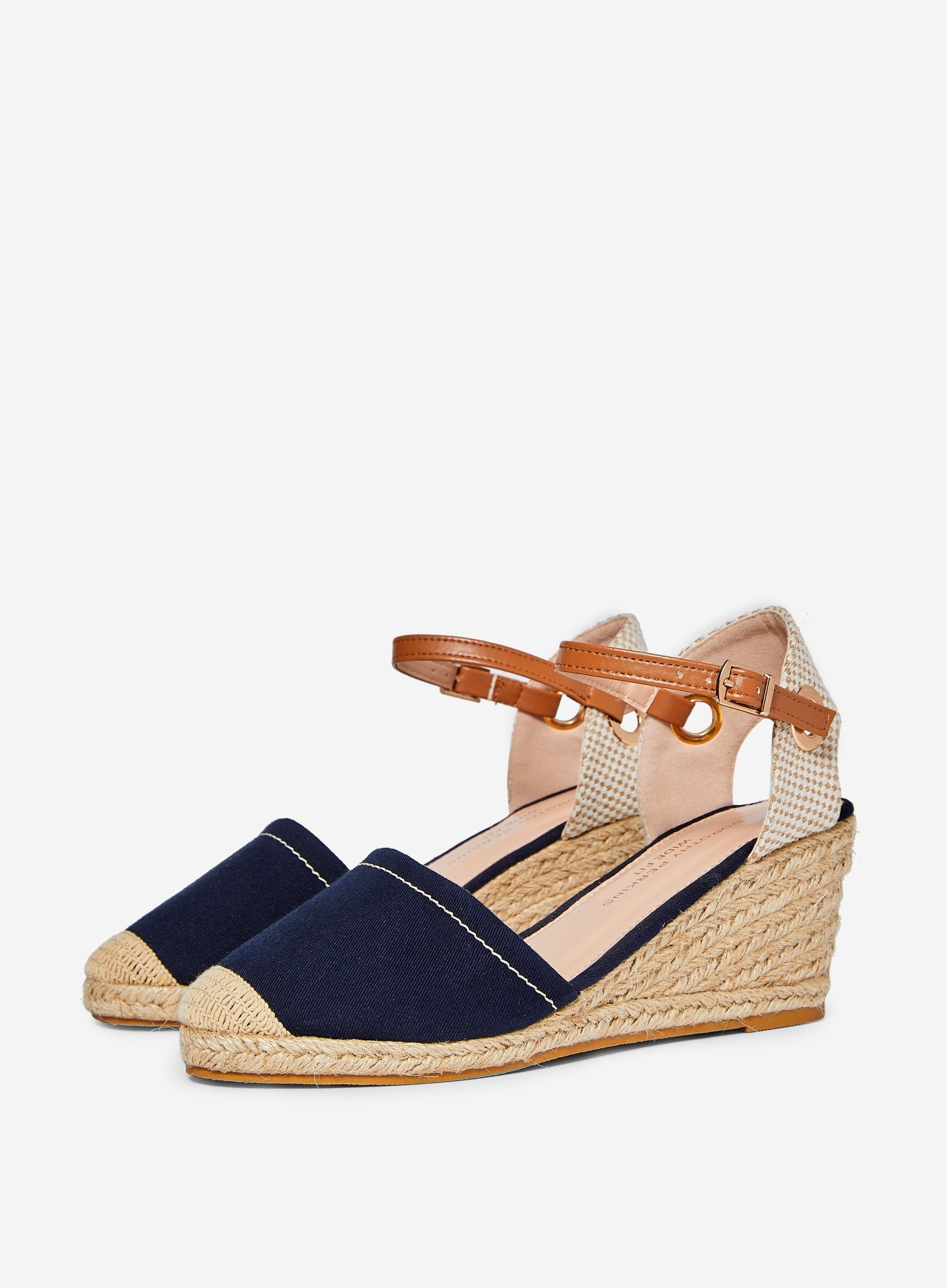Dorothy Perkins Womens Wide Fit Blue Rose Espadrilles Buckle Round Toe Shoes