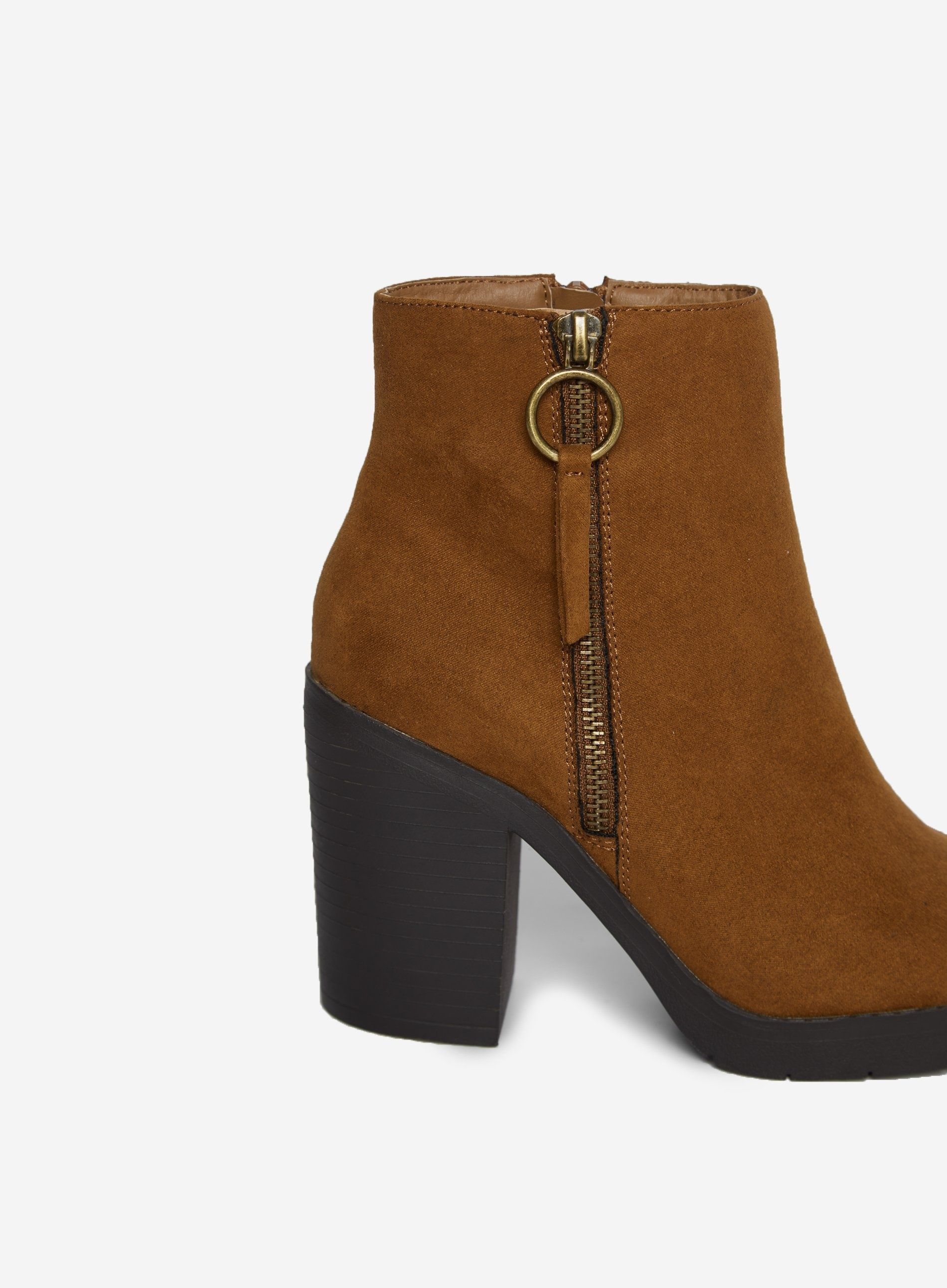Dorothy Perkins Womens Wide Fit Tan Abby Chunky Ankle Boots Zip Detail