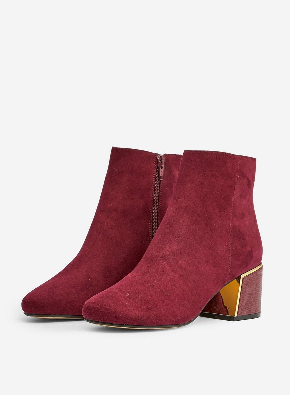 Dorothy Perkins Womens Wide Fit Red Amber Ankle Boots Winter Heeled Shoes