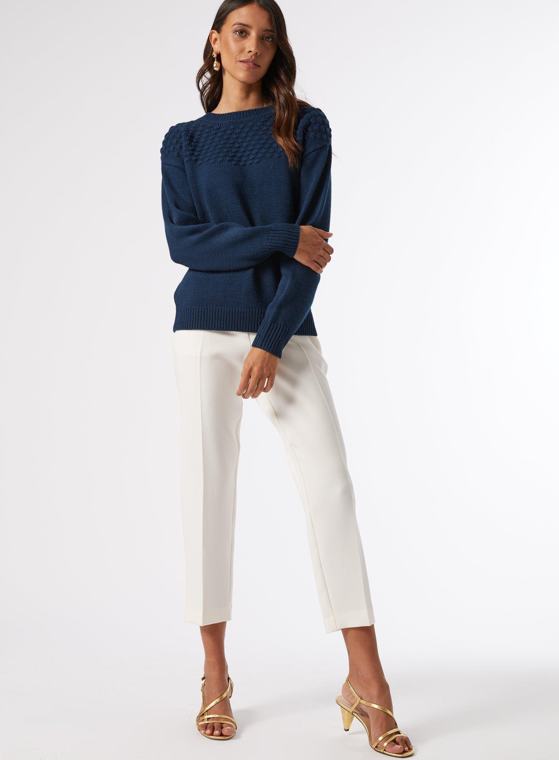 Dorothy Perkins Womens Teal Bobble Yoke Jumper Sweater Pullover Top Blouse