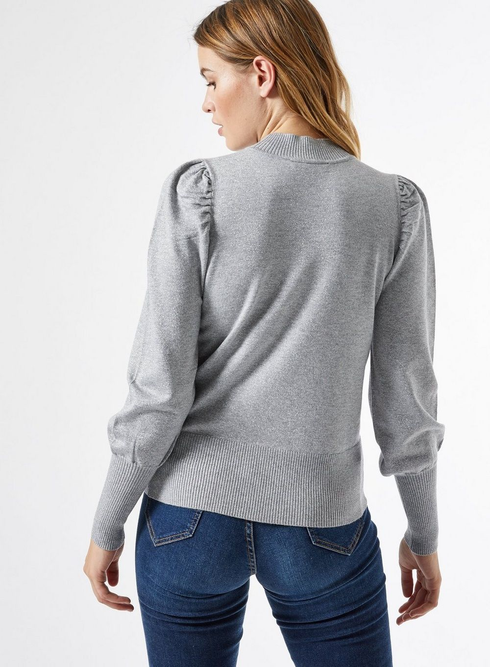 Dorothy Perkins Womens Silver Glitter Puff Sleeve Jumper Sweater Pullover Knit