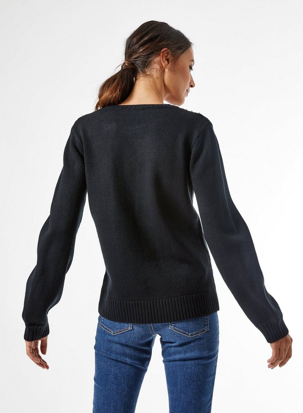 Dorothy Perkins Womens Black All Over Pearl Studded Jumper Sweater Pullover