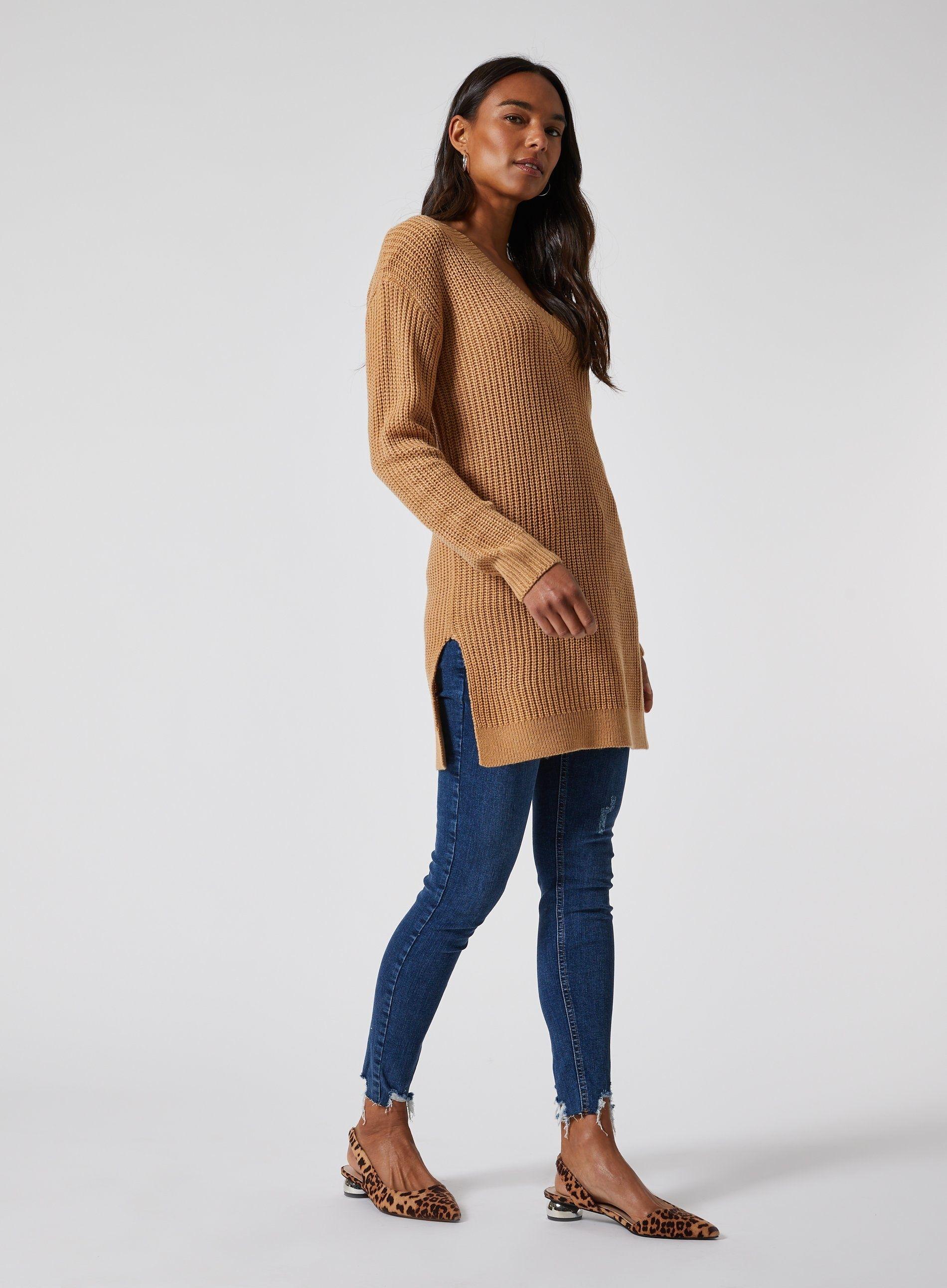Dorothy Perkins Womens Camel V Neck Tunic Jumper Warm Sweater Pullover Knitwear