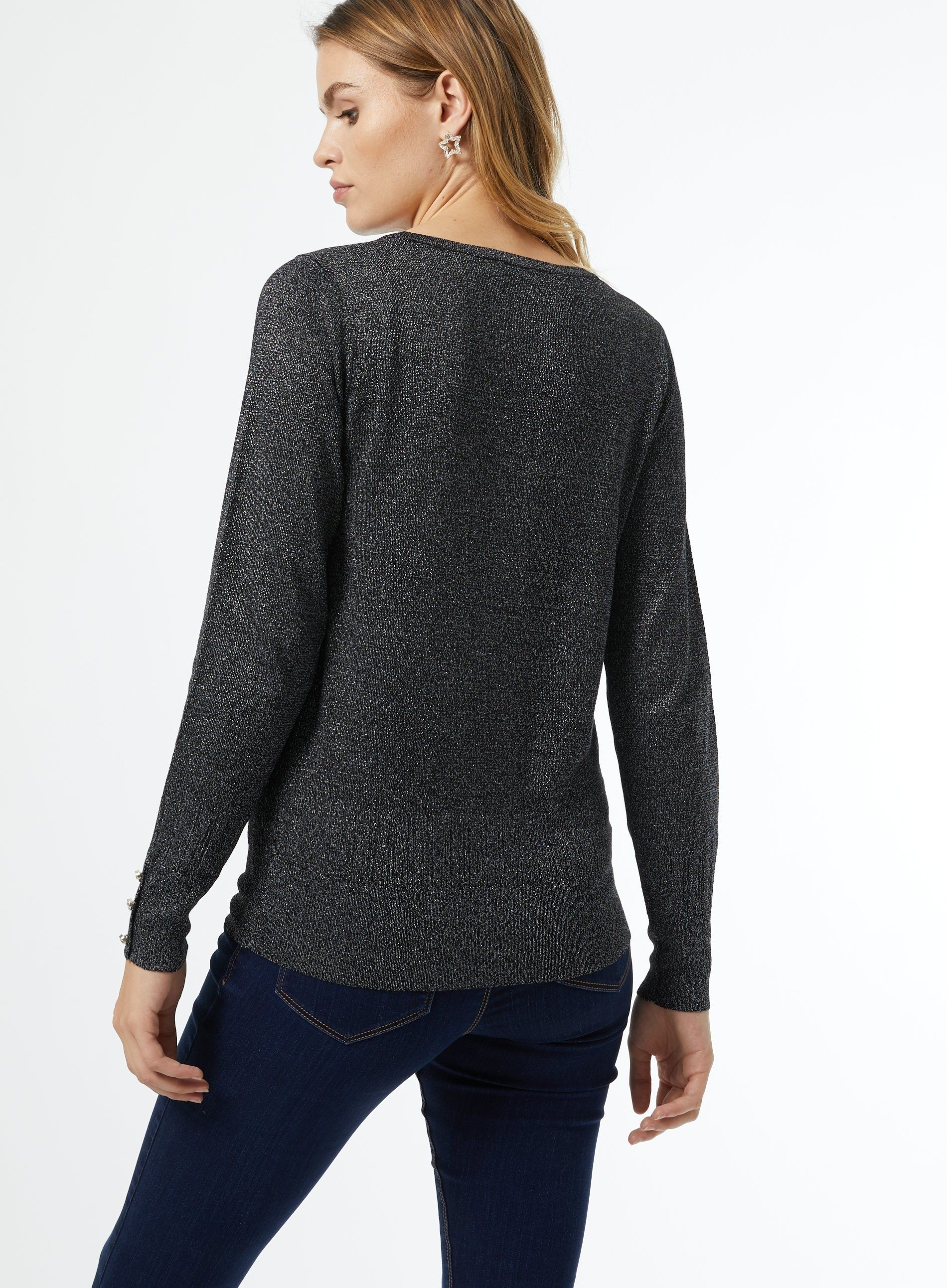 Dorothy Perkins Womens Pewter Lurex Crew Neck Jumper Pullover Sweater Top