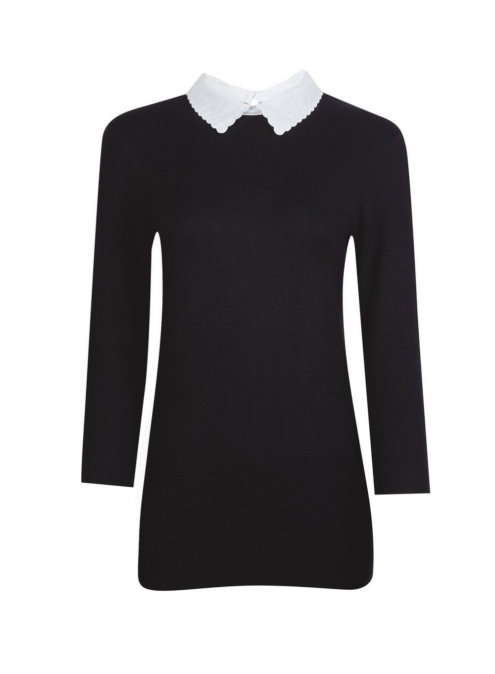 Dorothy Perkins Womens Black Three Quarters Sleeve Two In One Collar Jumper Top
