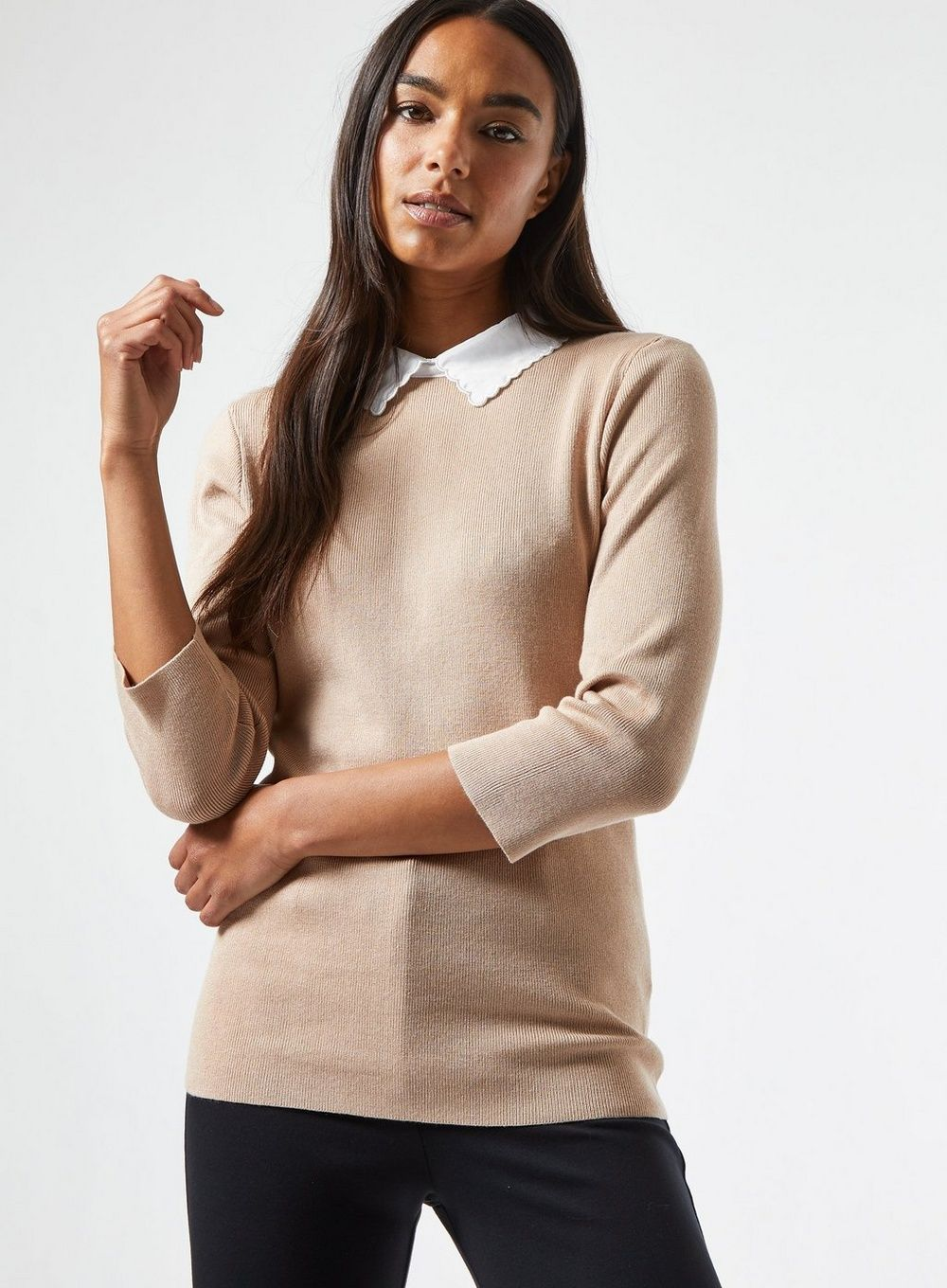 Dorothy Perkins Womens Camel Two In One Scallop Collar Jumper Knitwear Pullover