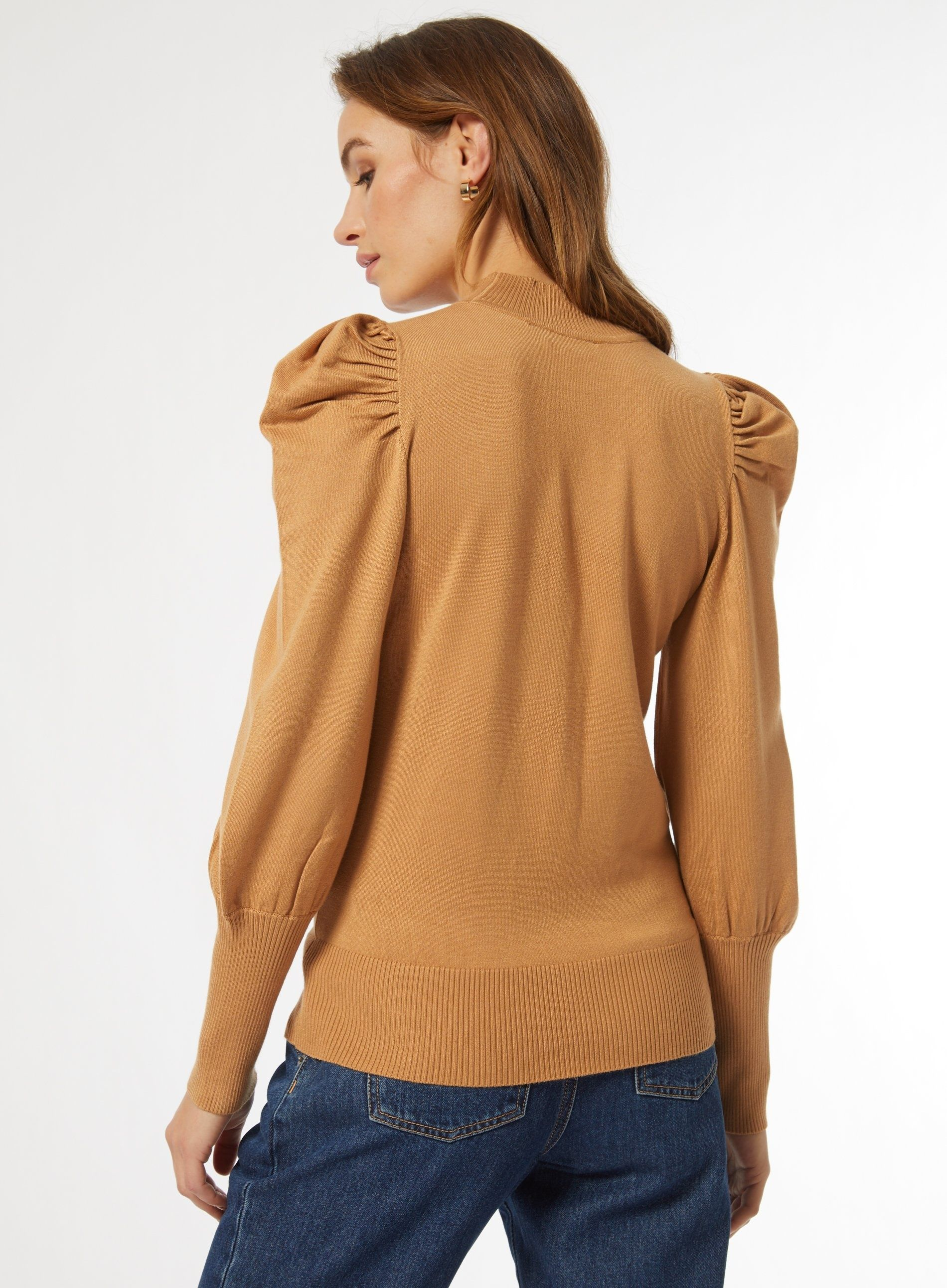 Dorothy Perkins Womens Camel Volume Sleeve Jumper Warm Sweater Pullover Knitwear
