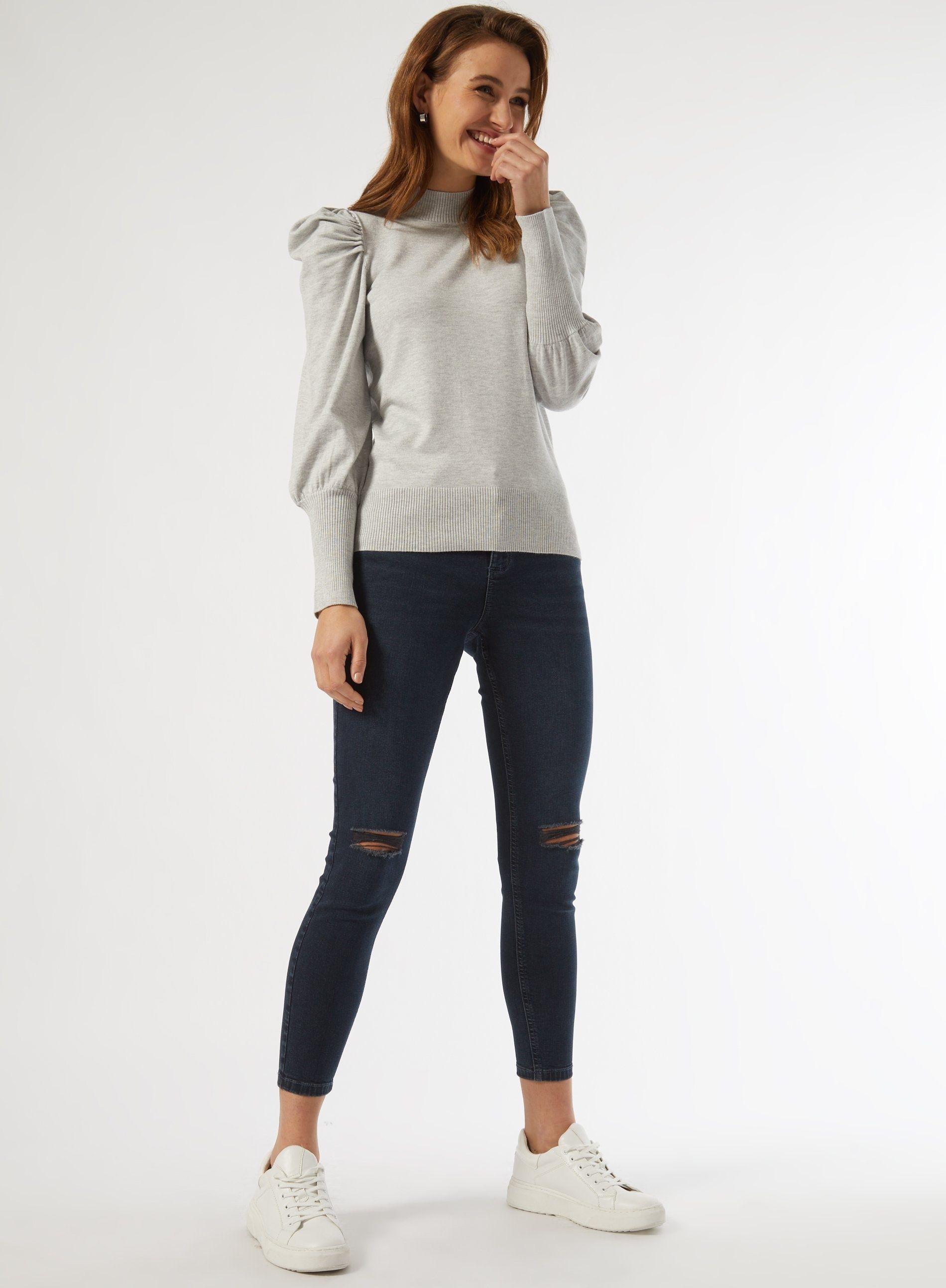 Dorothy Perkins Womens Grey Marl Volume Sleeve Jumper Sweater Pullover Knitwear