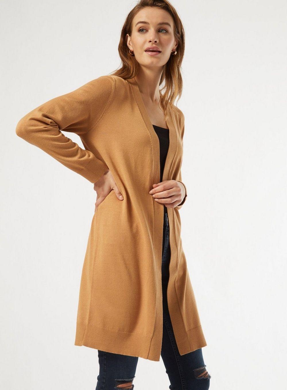 Dorothy Perkins Womens Camel Longline Cardigan Long Sleeve Jumper Knitwear Top