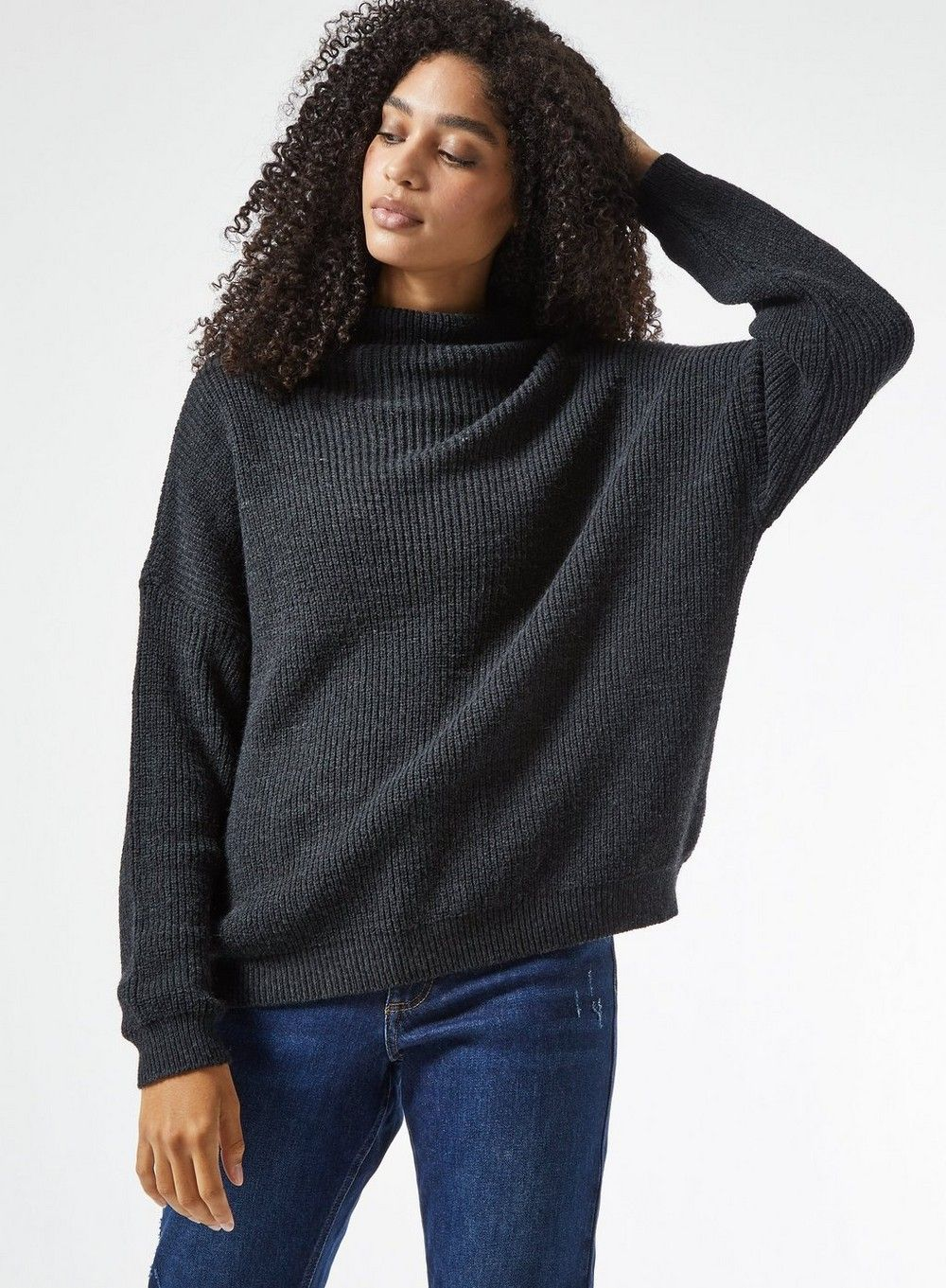 Dorothy Perkins Womens Charcoal Slouchy Batwing Sleeve Jumper Sweater Pullover