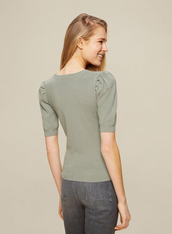 Dorothy Perkins Womens Green Puff Sleeve Cardigan 3/4 Sleeve Jumper Knitwear Top