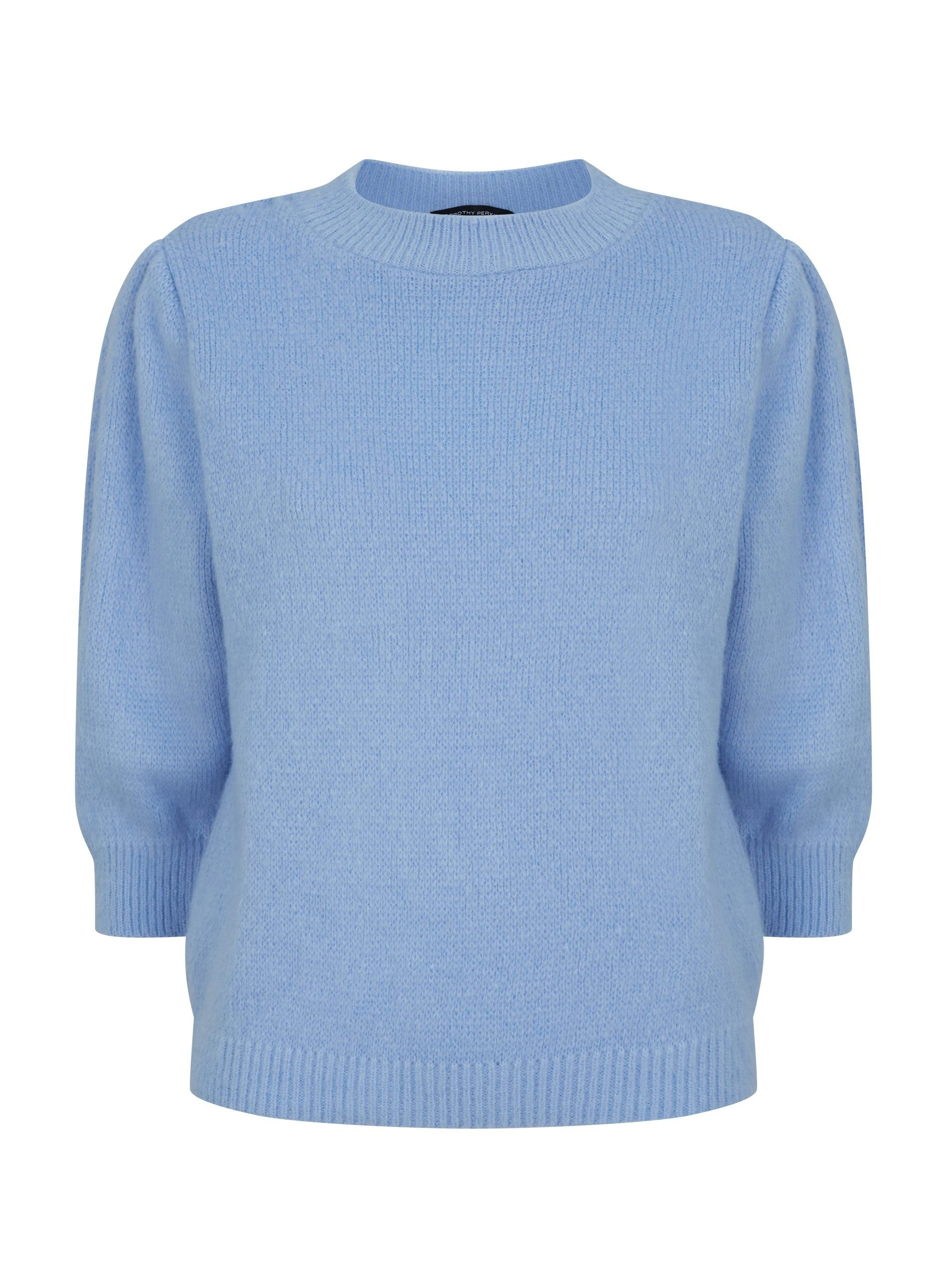 Dorothy Perkins Womens Blue Knitted T Shirt Top Blouse 3/4 Sleeve Round Neck