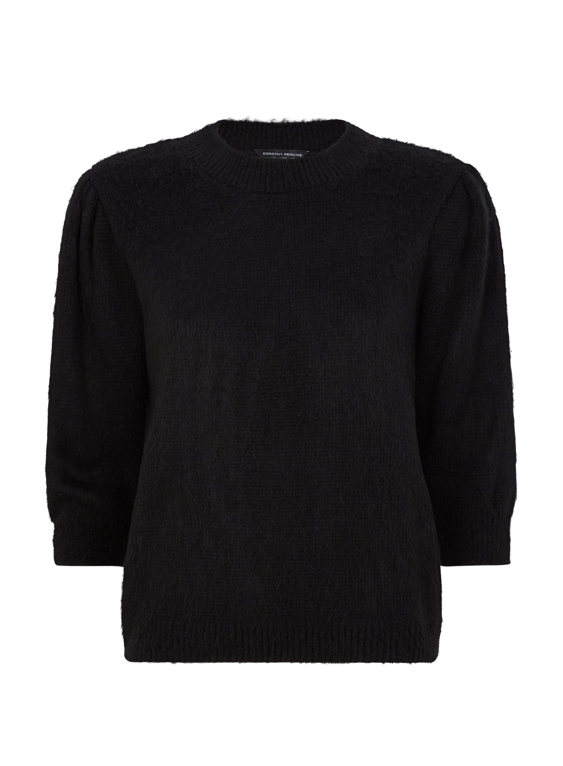 Dorothy Perkins Womens Black Knitted T Shirt 3/4 Sleeve Blouse Top Round Neck